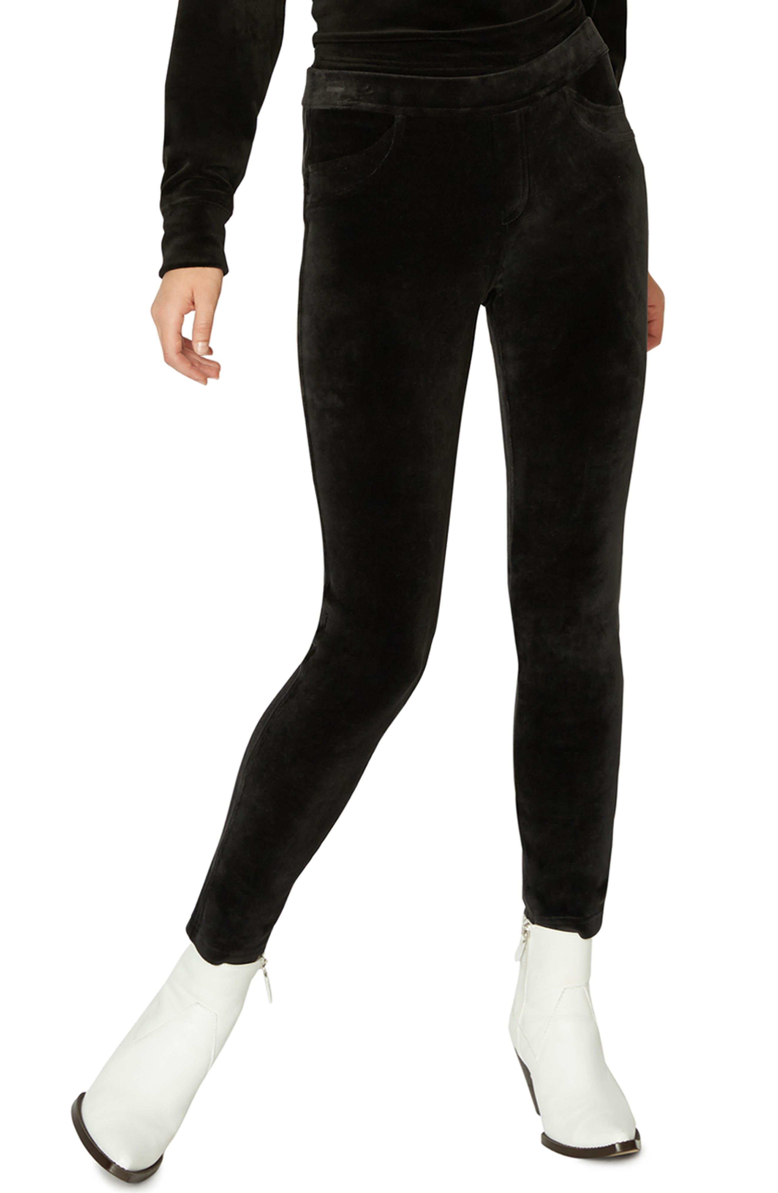 SANCTUARY Velour Grease Leggings, Main, color, 001