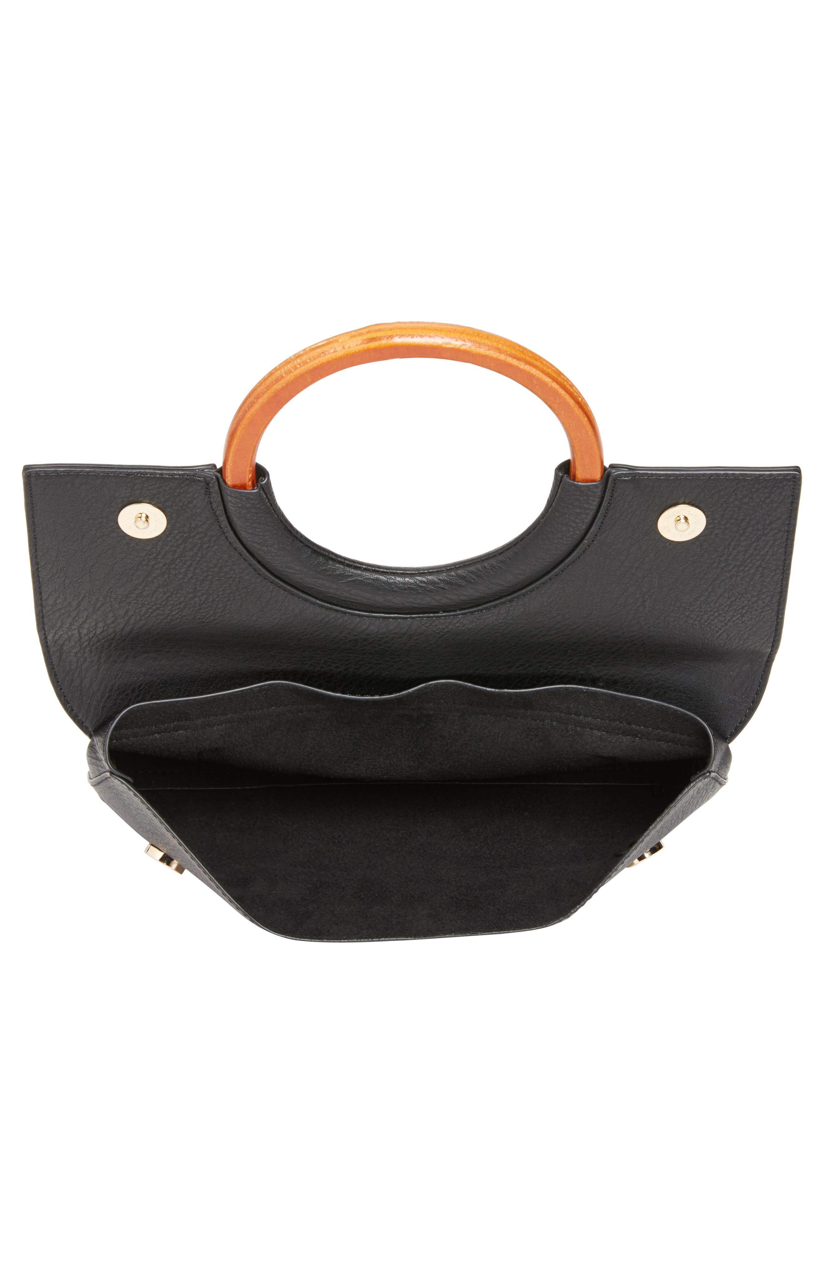 Faux Leather Circle Clutch,                             Alternate thumbnail 4, color,                             BLACK