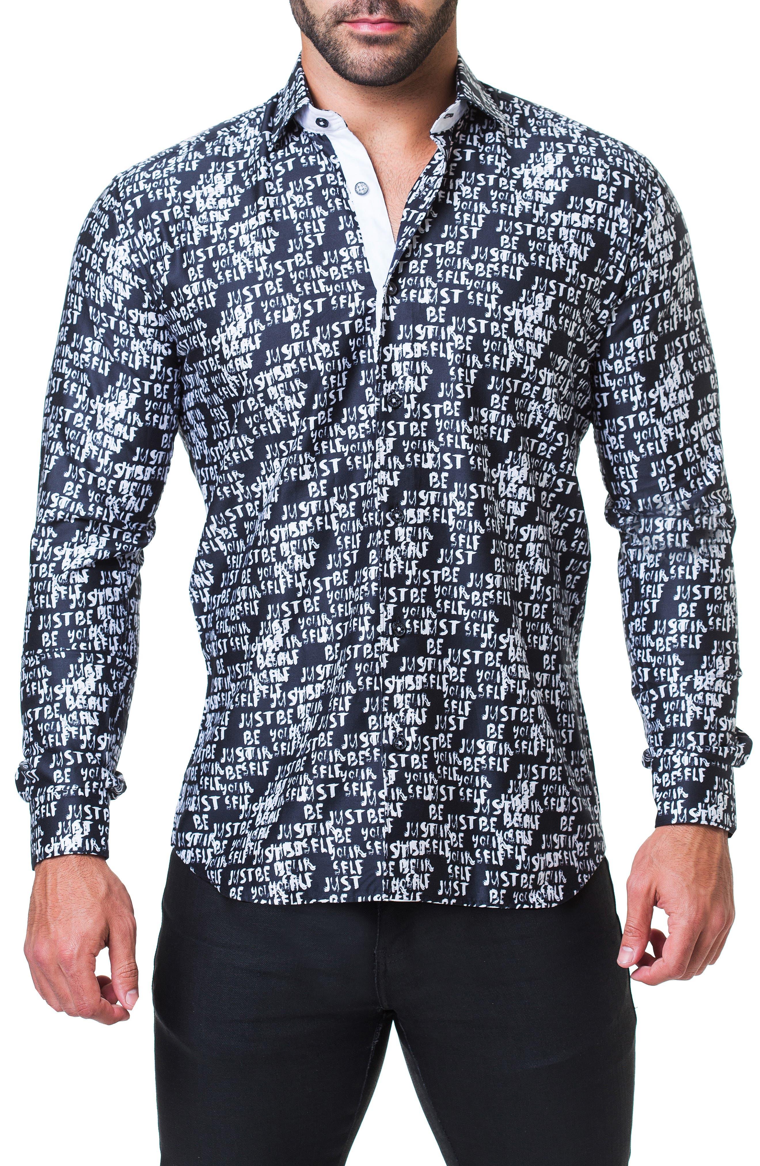 Fibonacci Just Be Yourself Print Sport Shirt,                             Main thumbnail 1, color,                             BLACK