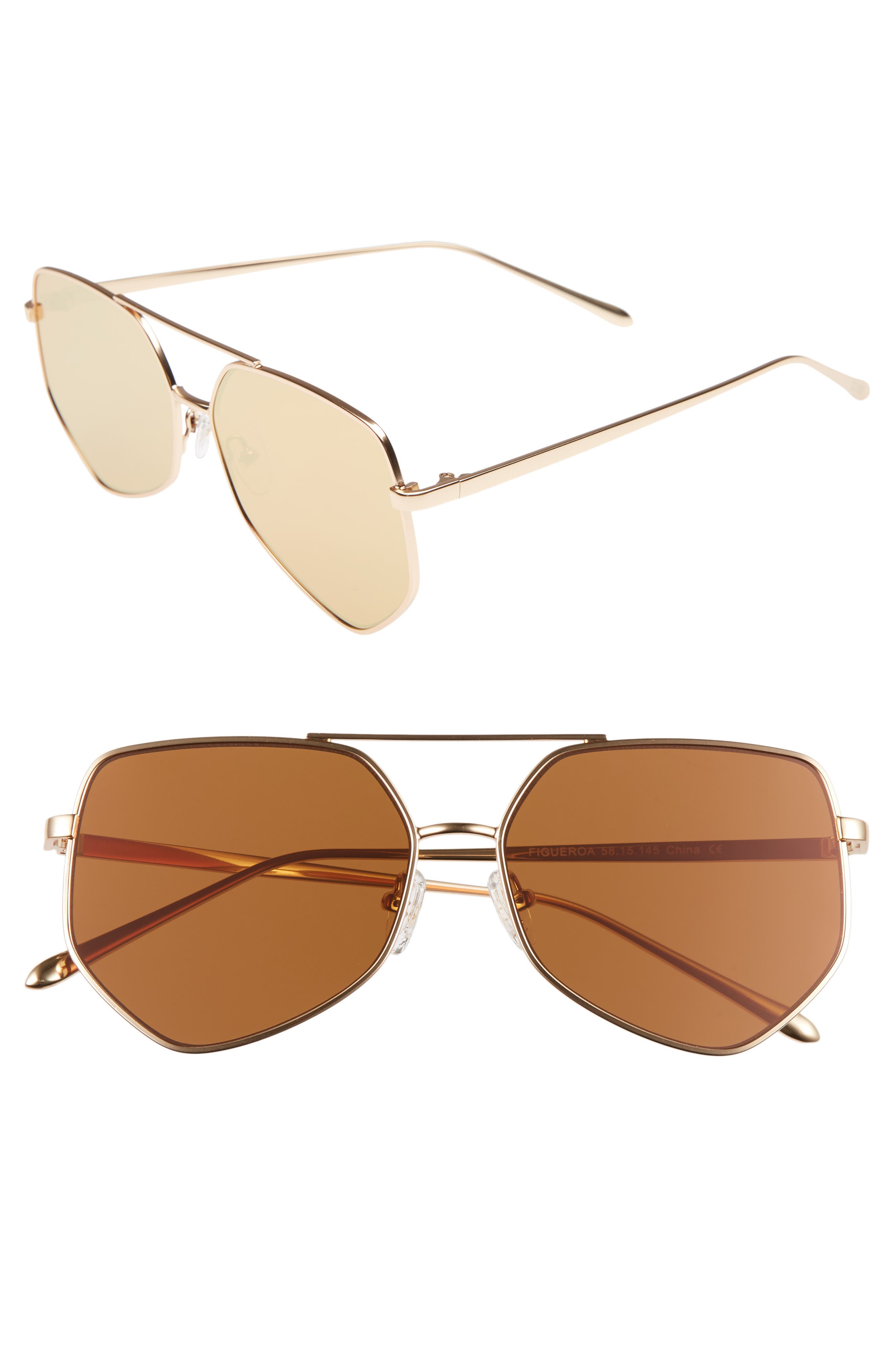 Figueroa 58mm Sunglasses,                             Main thumbnail 1, color,                             PALACE GOLD