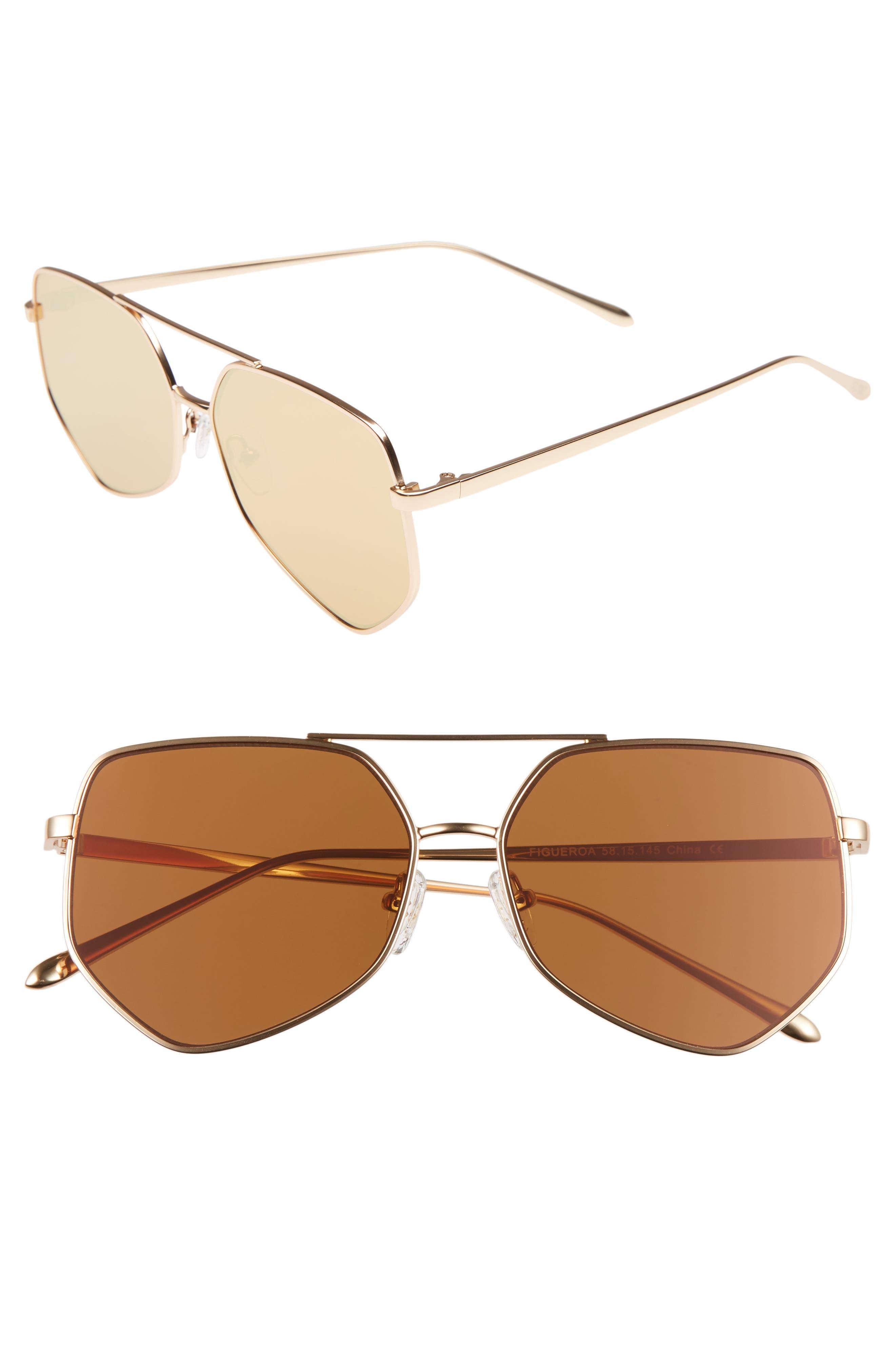 Figueroa 58mm Sunglasses,                         Main,                         color, PALACE GOLD