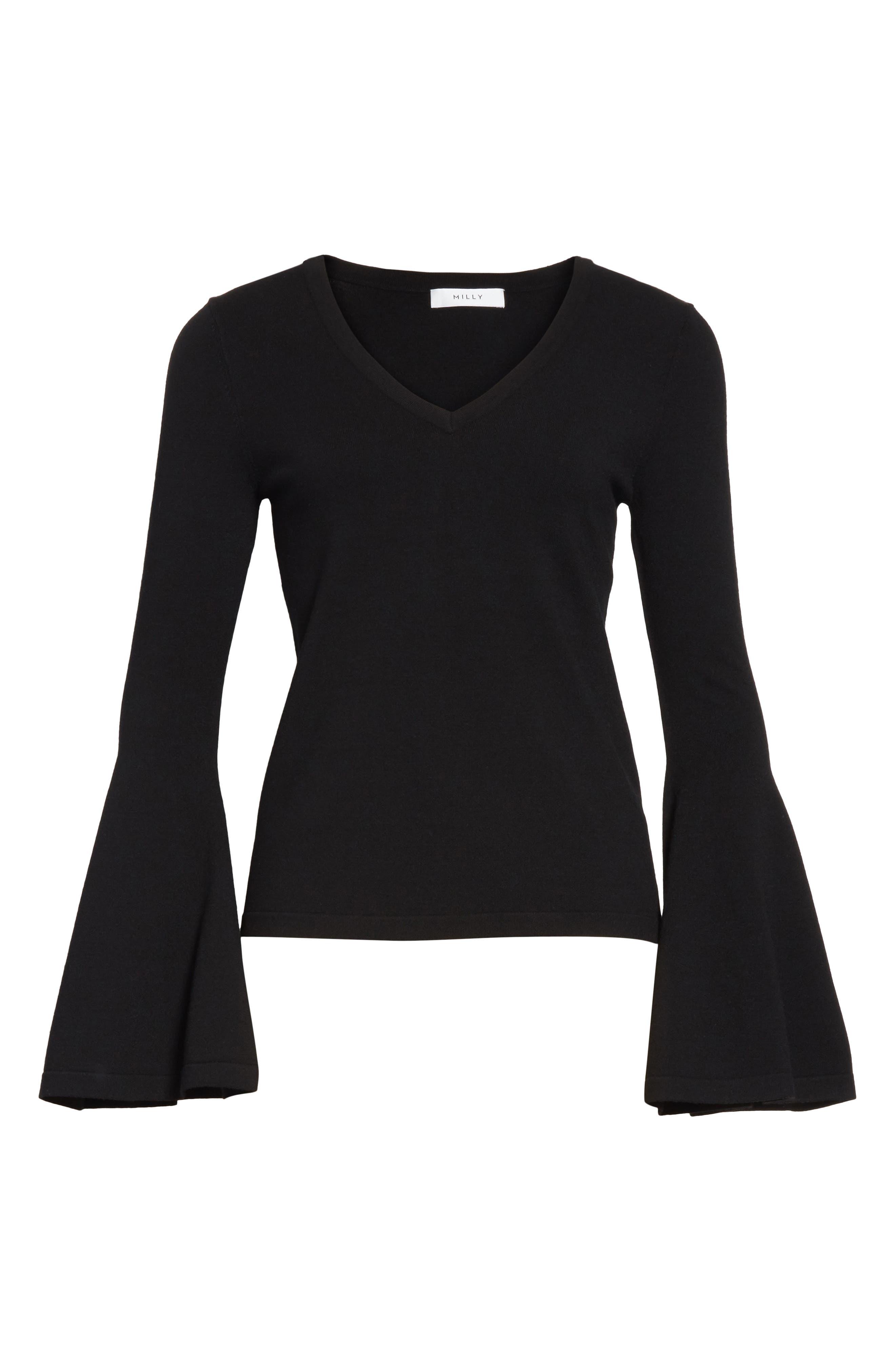 Bell Sleeve V-Neck Sweater,                             Alternate thumbnail 21, color,