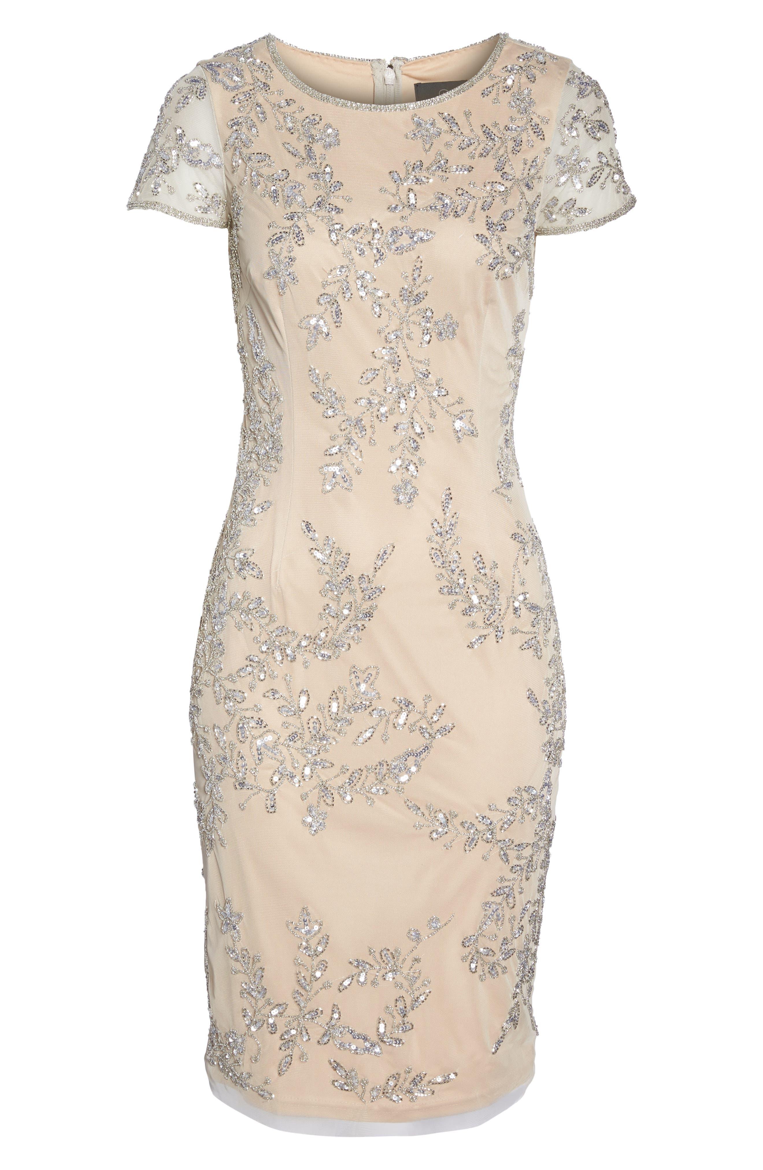 Beaded Sheath Dress,                             Alternate thumbnail 6, color,                             259