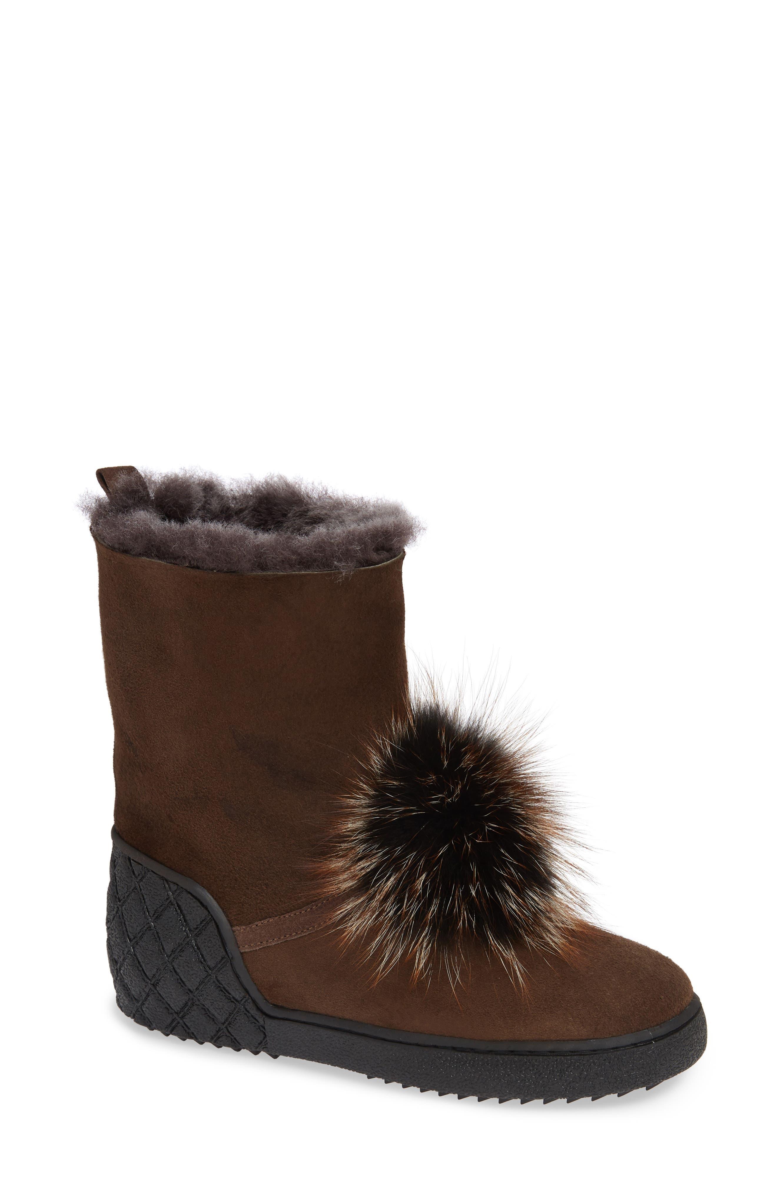 Sheridan Mia Toto Genuine Fox Fur Bootie Beige