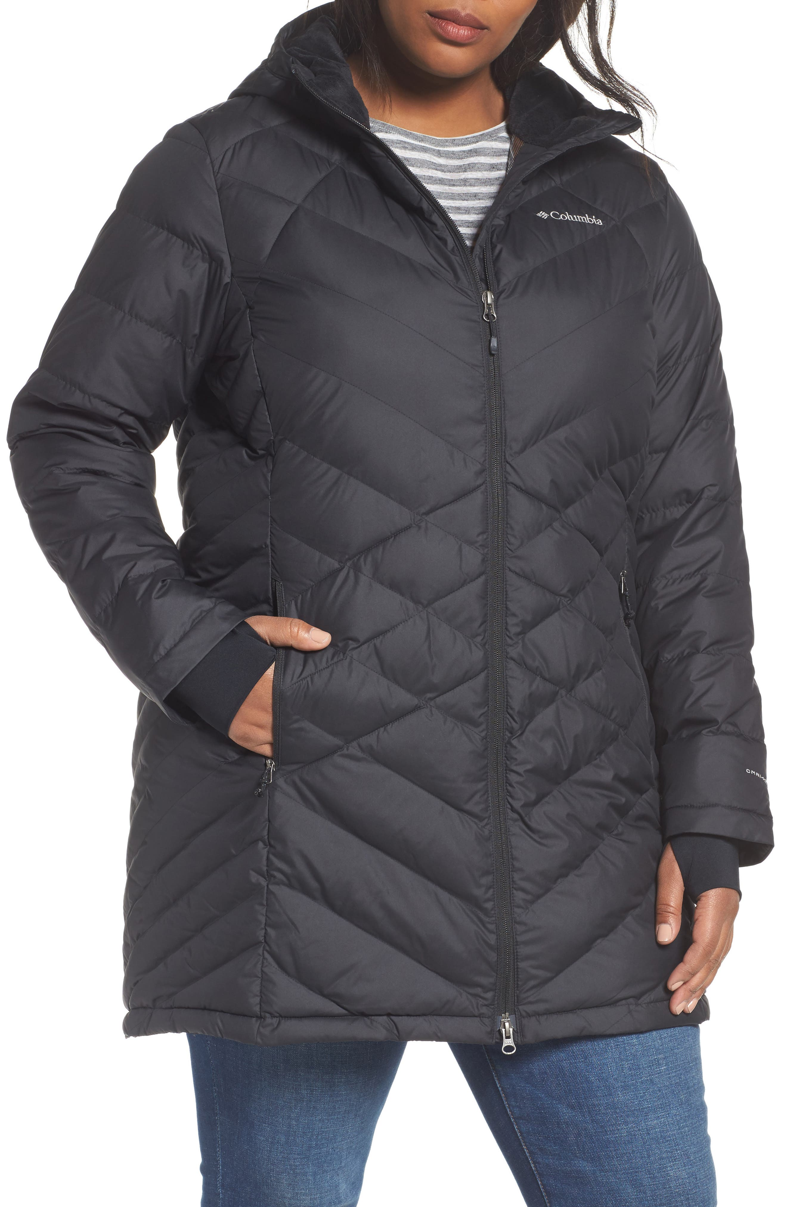 Heavenly Water Resistant Insulated Long Hooded Jacket,                             Alternate thumbnail 4, color,                             010