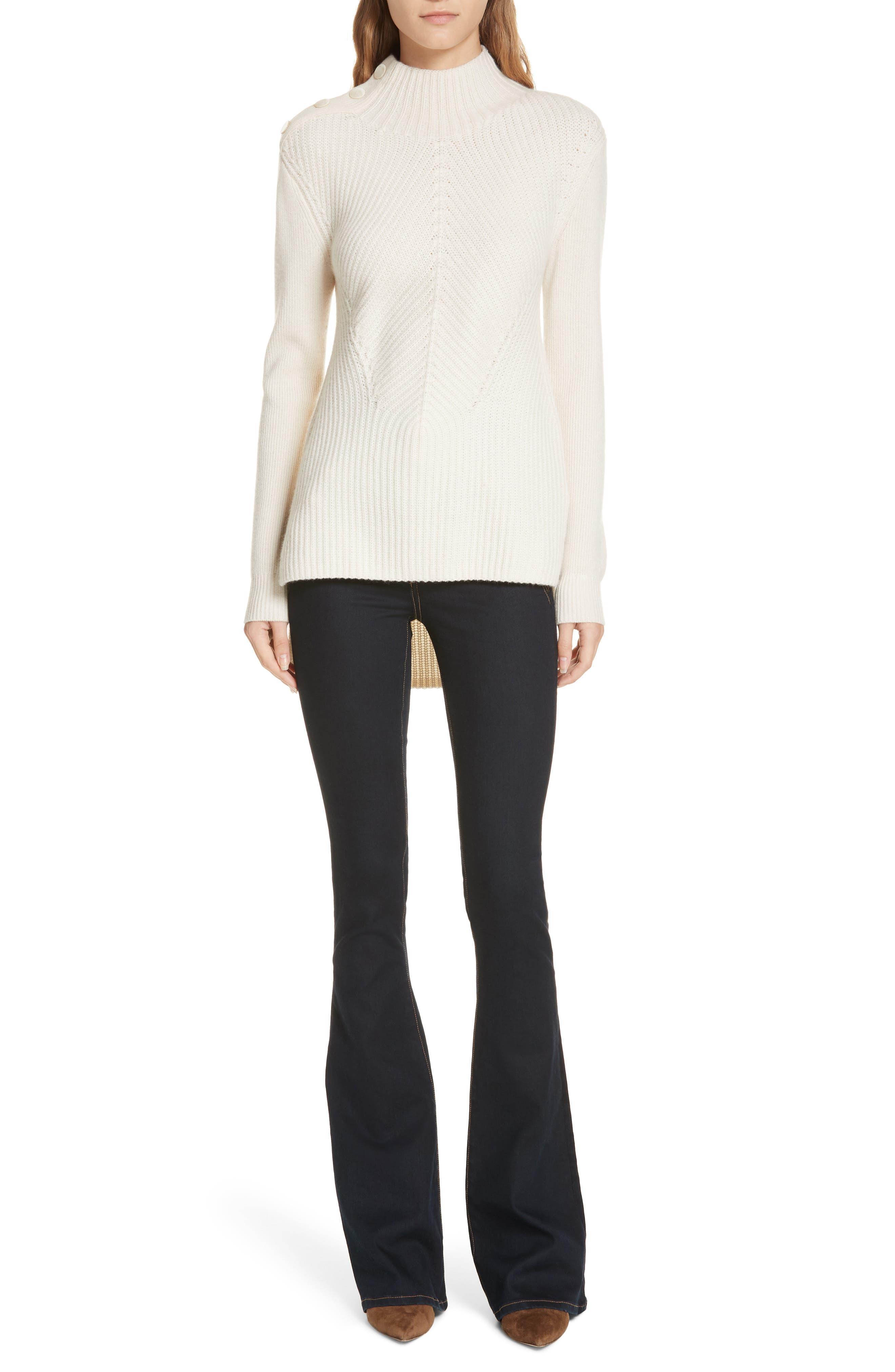 Dalida Button Detail Skinny Flare Jeans,                             Alternate thumbnail 7, color,                             INDIGO