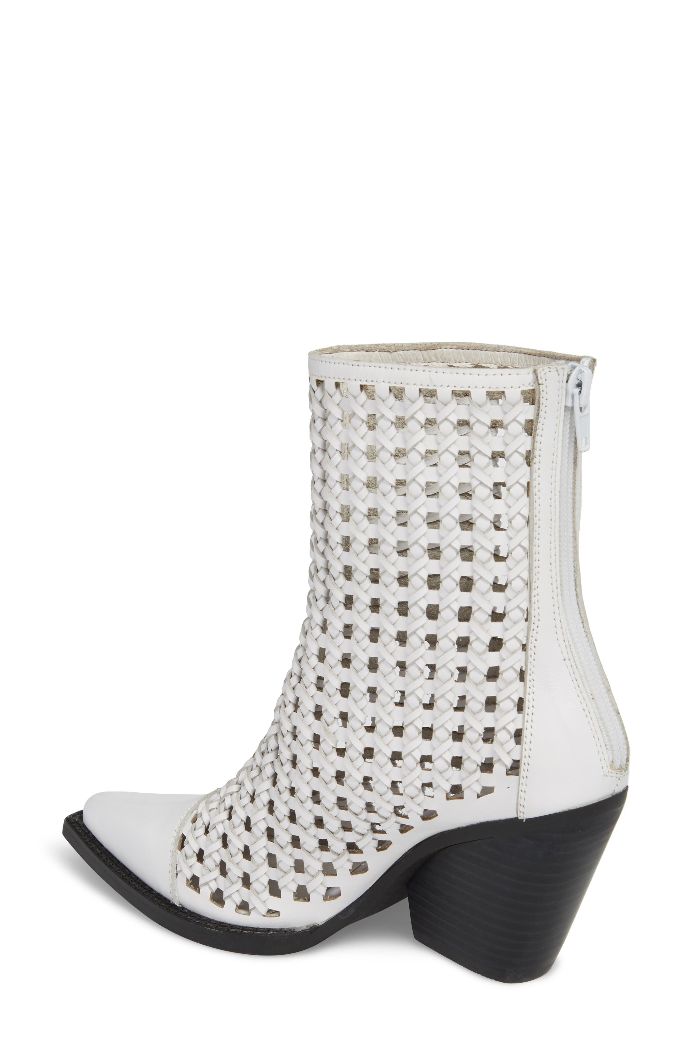 Waven Woven Bootie,                             Alternate thumbnail 2, color,                             WHITE LEATHER