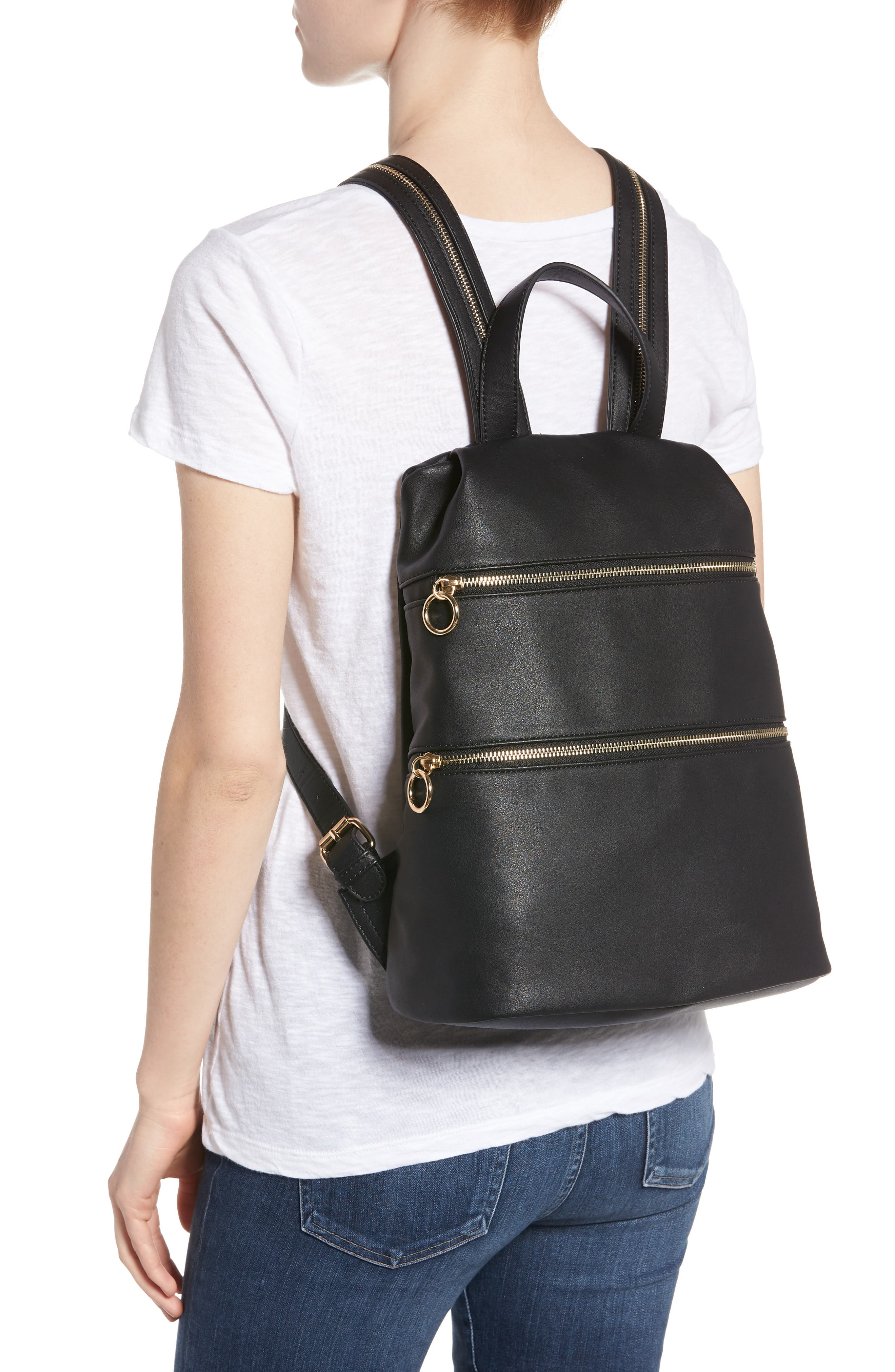 Double Zip O Ring Faux Leather Backpack,                             Alternate thumbnail 2, color,                             001
