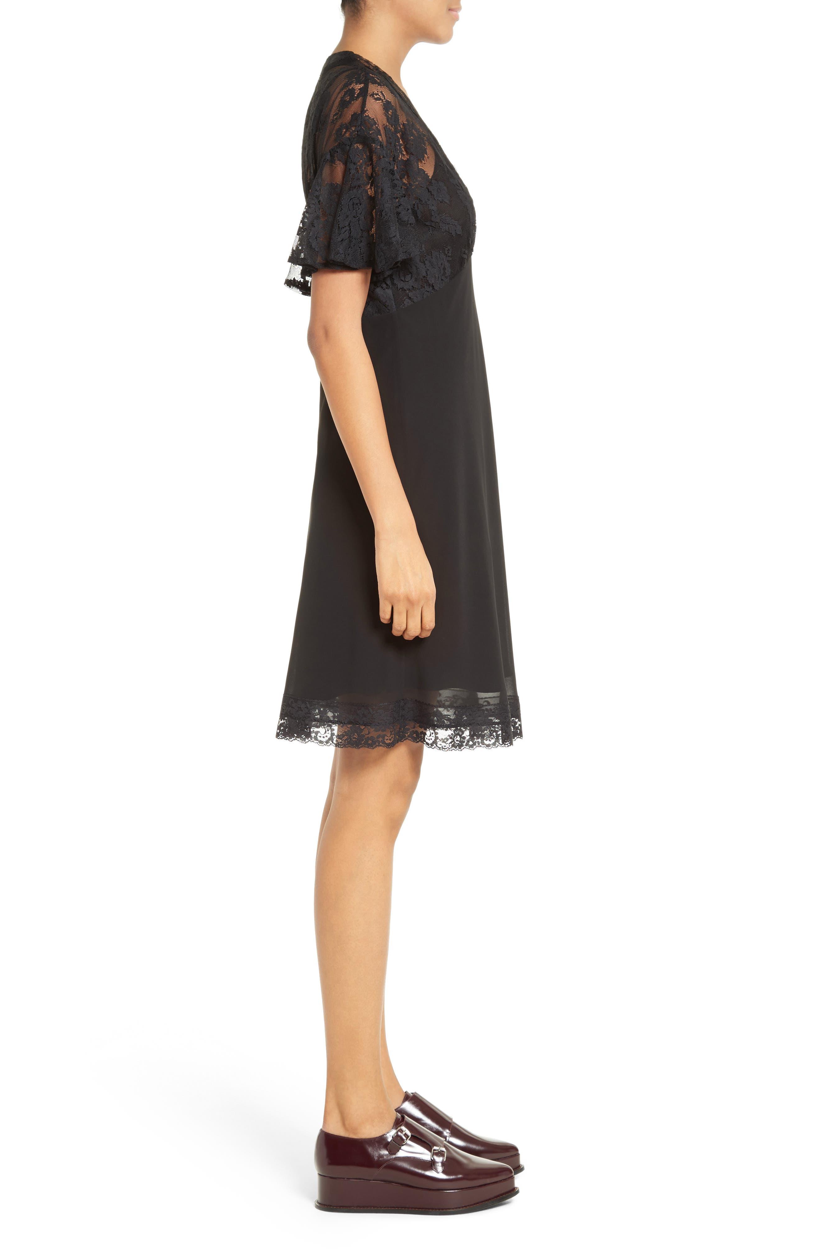 Volant Lace Dress,                             Alternate thumbnail 3, color,                             003