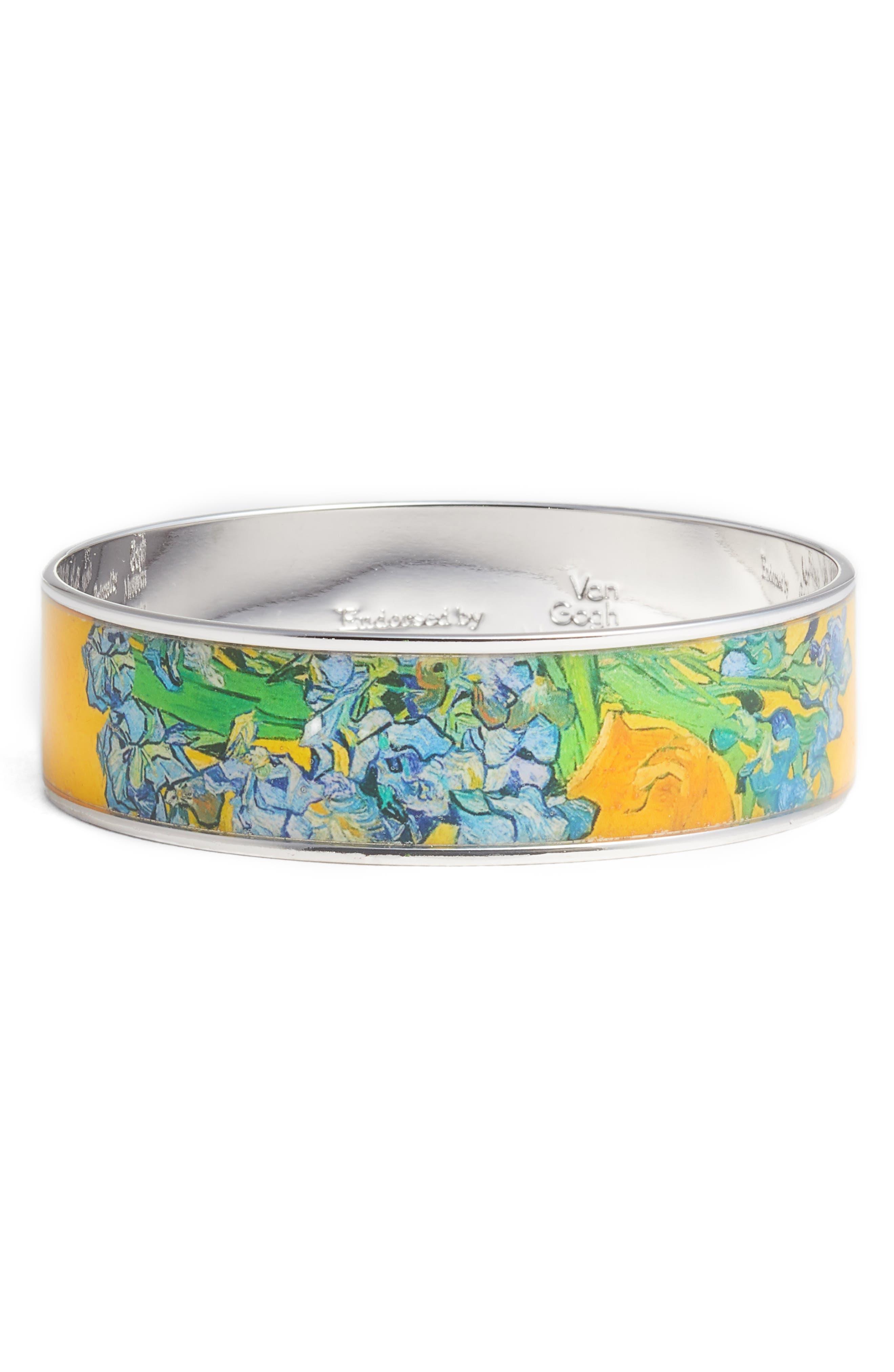 Irises Medium Bangle Bracelet,                             Main thumbnail 1, color,                             YELLOW/ SILVER