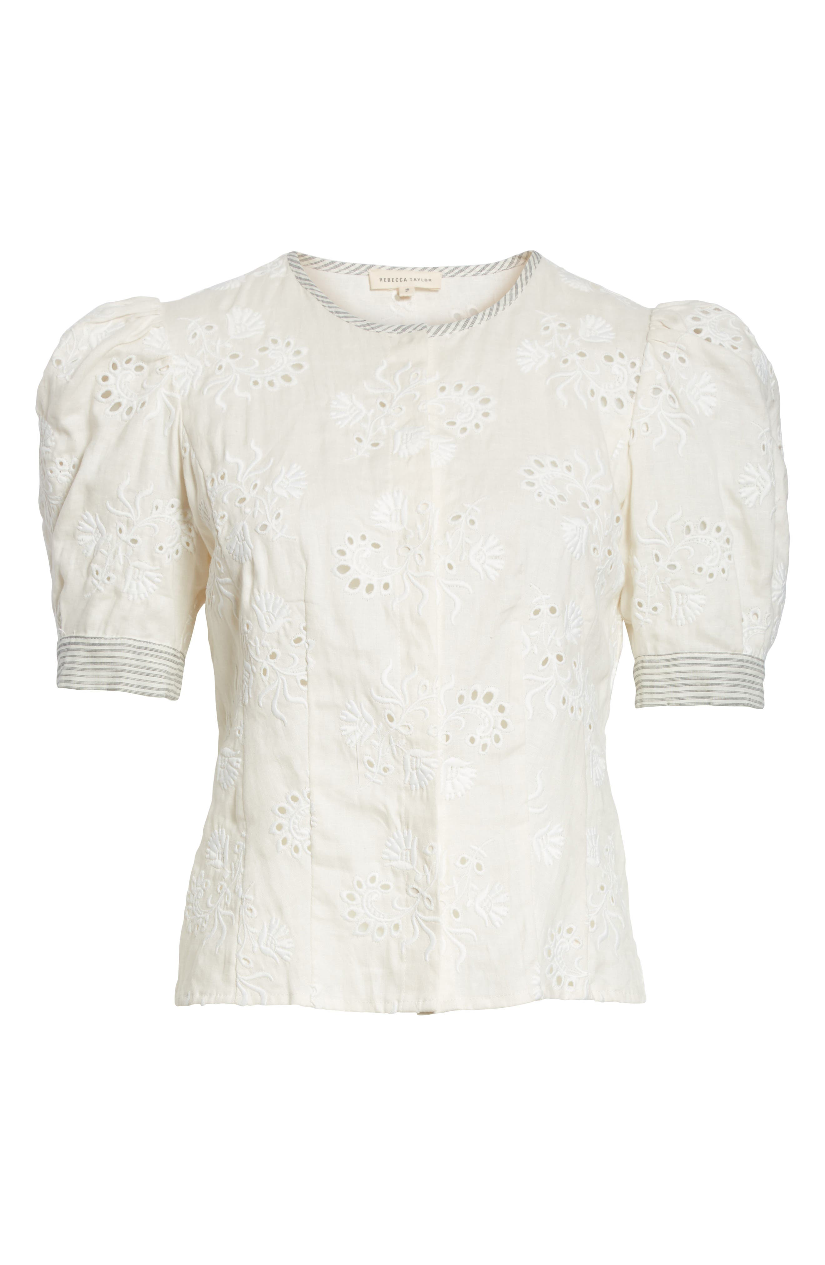 Garden Eyelet Linen Top,                             Alternate thumbnail 6, color,                             192