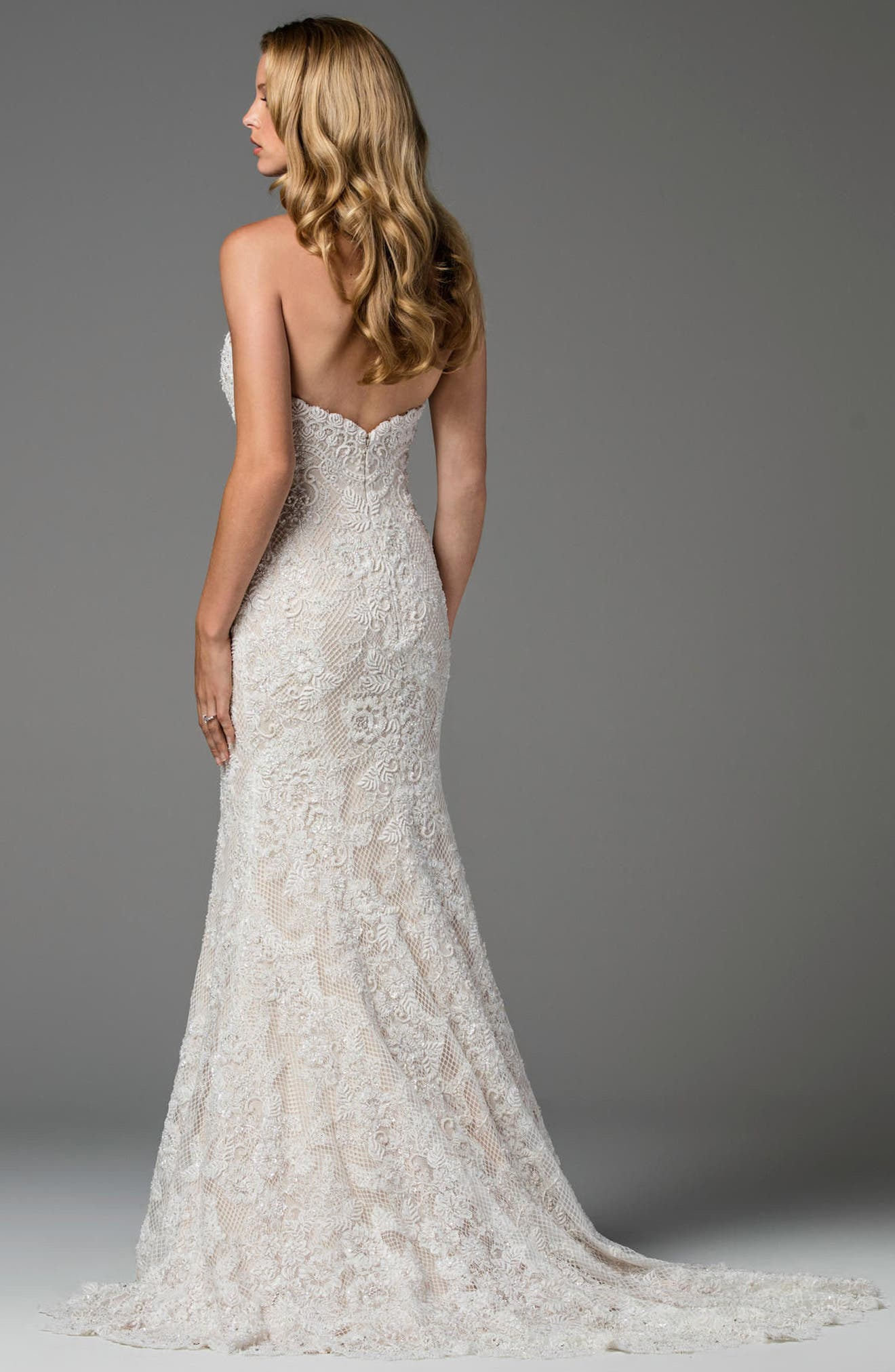 Copeland Strapless Lace Gown,                             Alternate thumbnail 2, color,                             IVORY