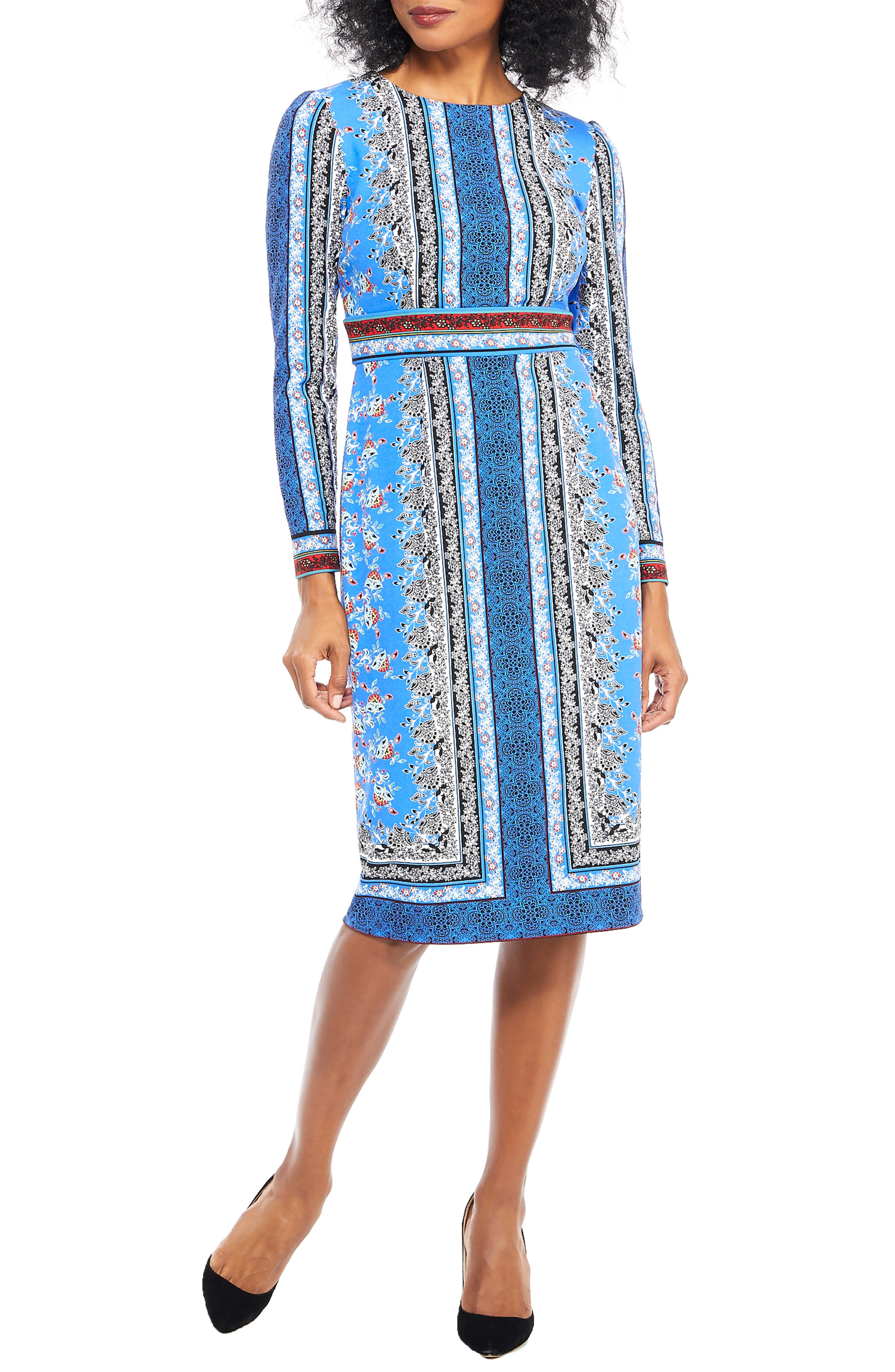 Paisley Puzzle Scuba Crepe Sheath Dress,                             Main thumbnail 1, color,                             BLUE/ RED APPLE