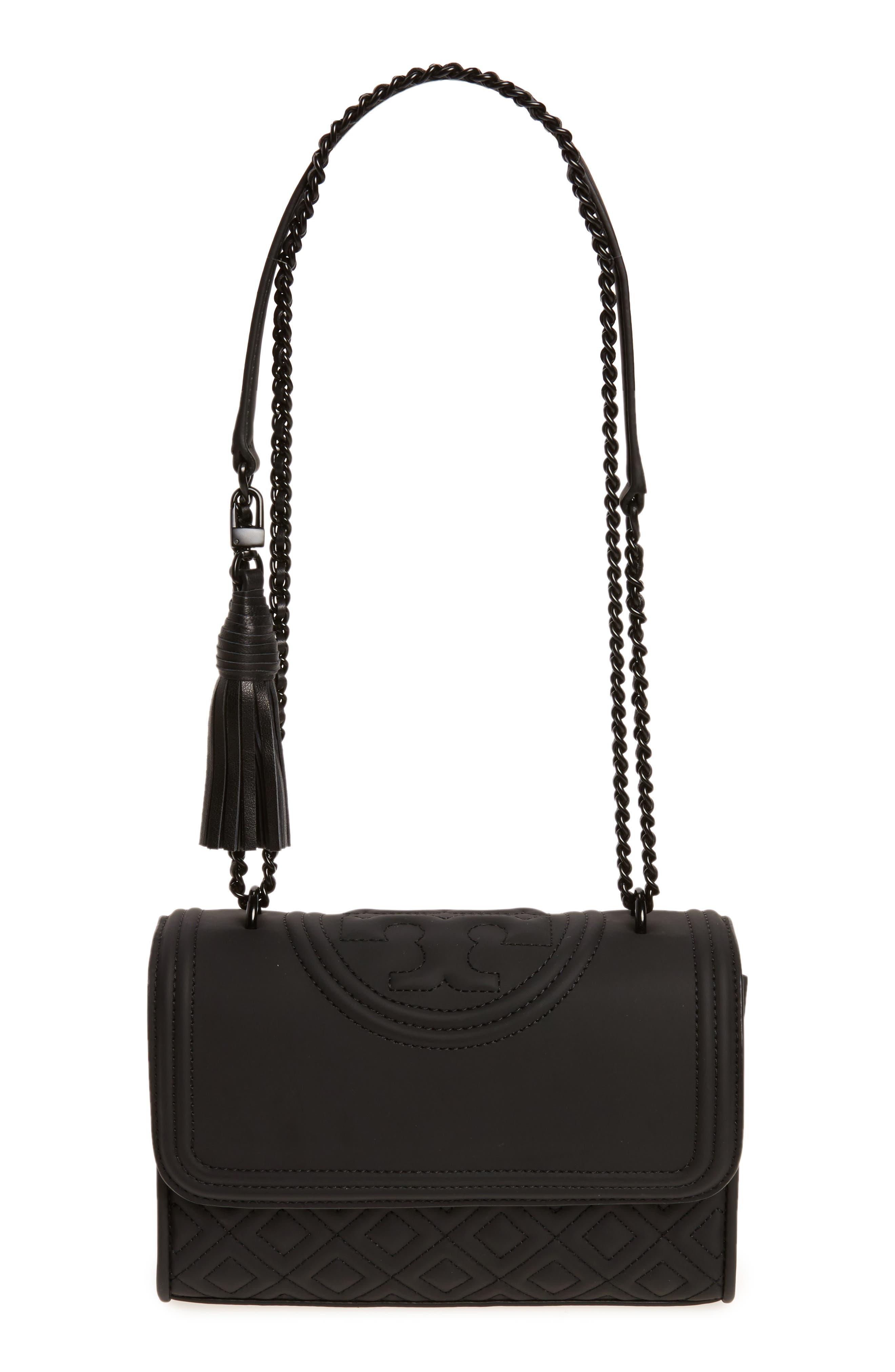 Small Fleming Quilted Shoulder Bag,                             Main thumbnail 1, color,                             BLACK