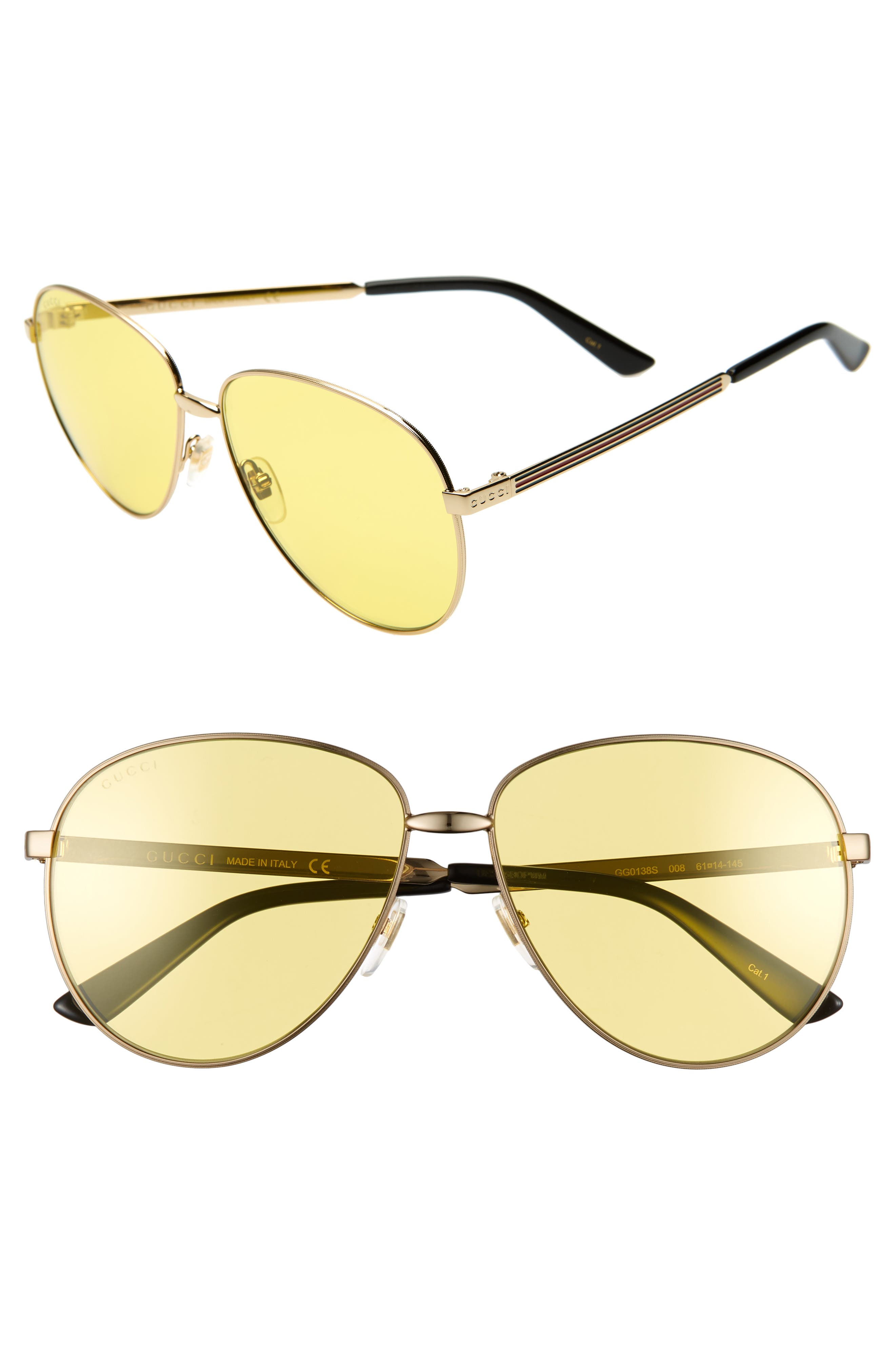 Gucci 61Mm Metal Aviator Sunglasses - Gold/ Solid Yellow