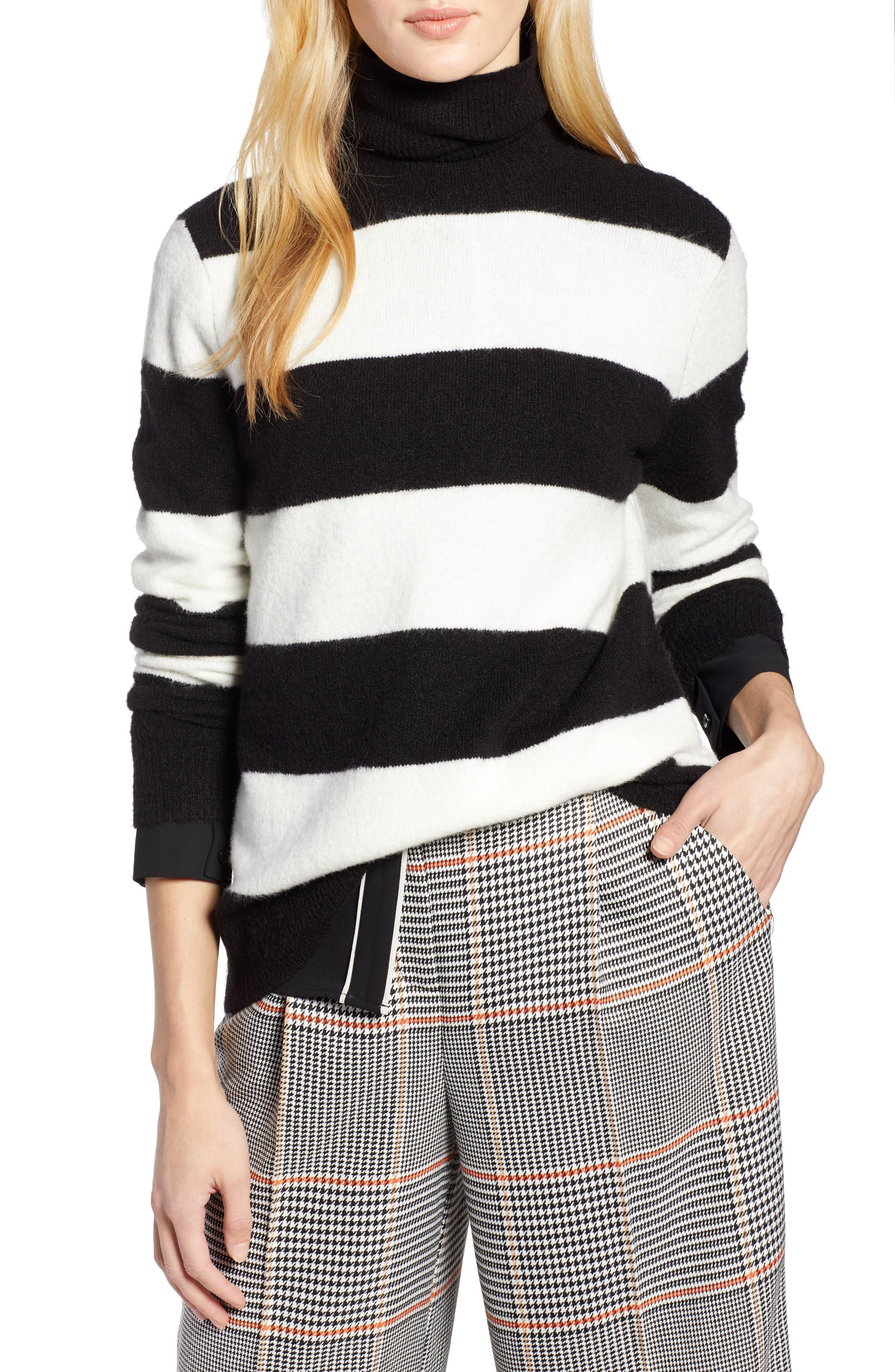 x Atlantic-Pacific Stripe Turtleneck Sweater,                             Main thumbnail 1, color,                             BLACK- IVORY STRIPE