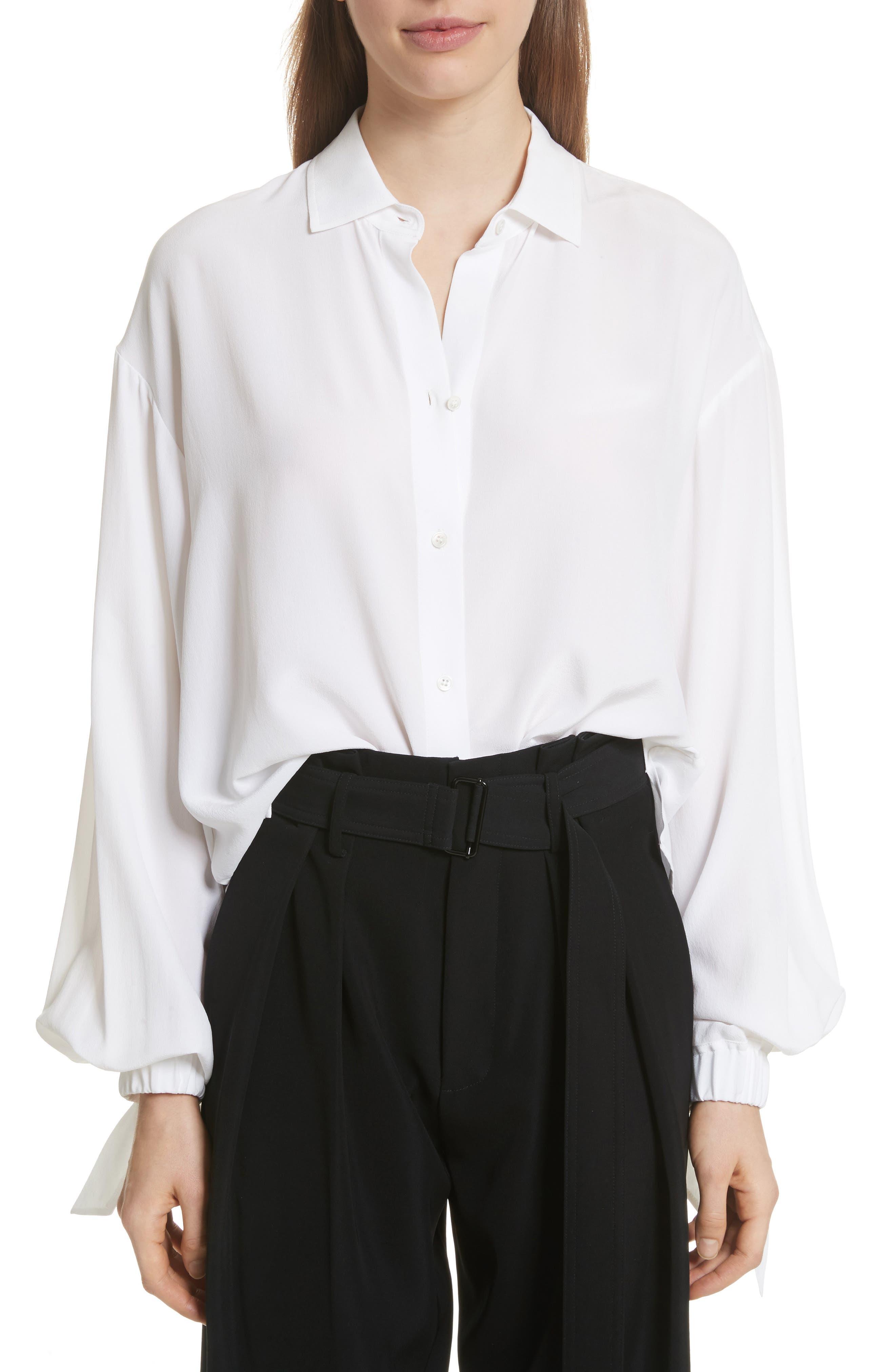 Tie Cuff Silk Blouse,                         Main,                         color, 137