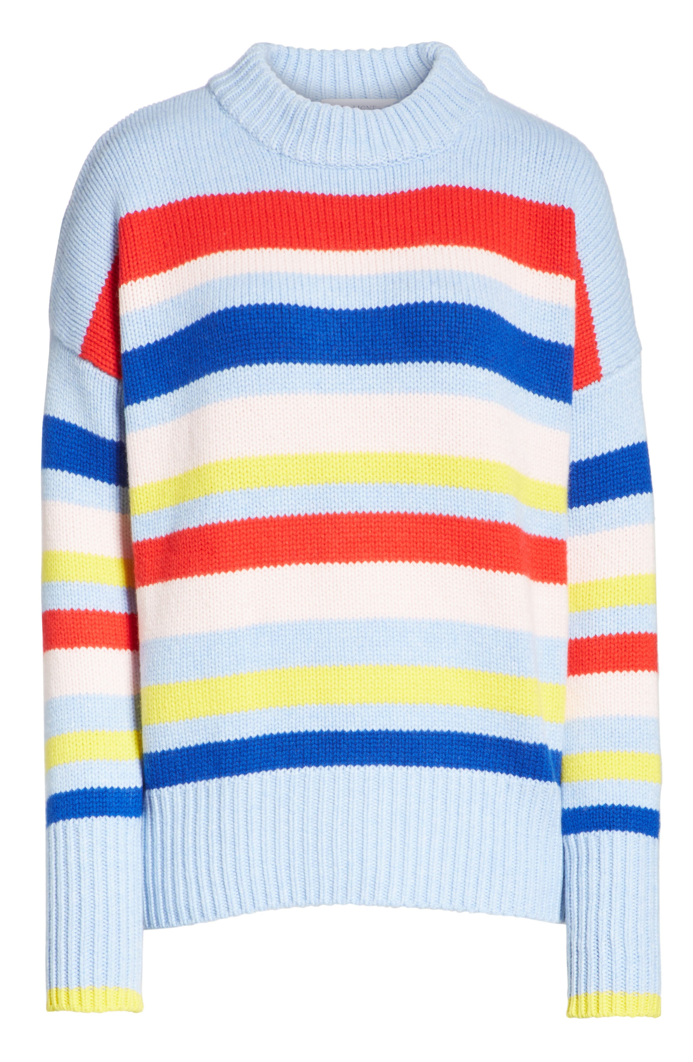 LA LIGNE,                             Happy Marin Sweater,                             Alternate thumbnail 6, color,                             RAINBOW STRIPE