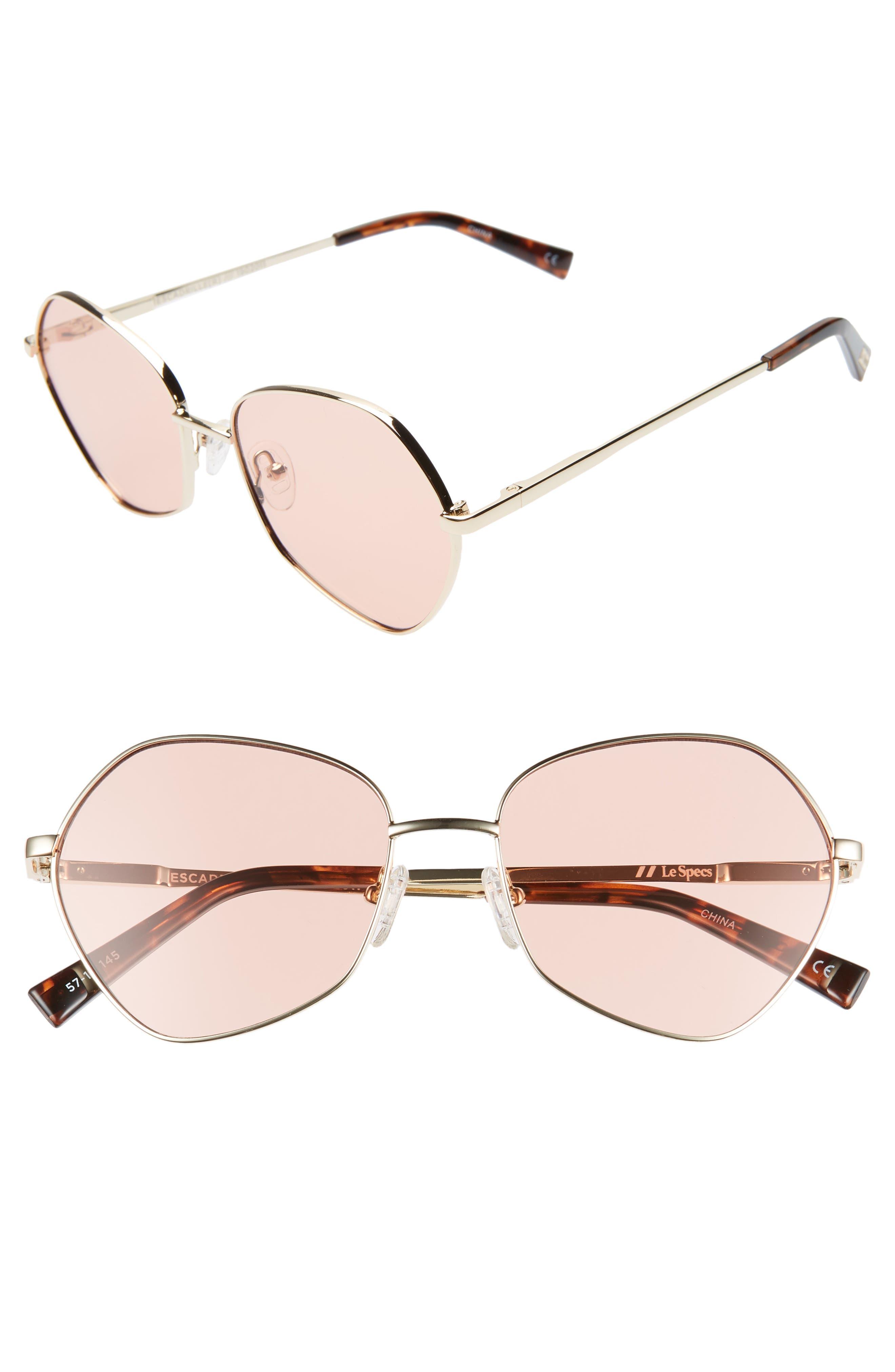 Le Specs Escadrille 57Mm Angular Sunglasses - Gold/ Coral Tint