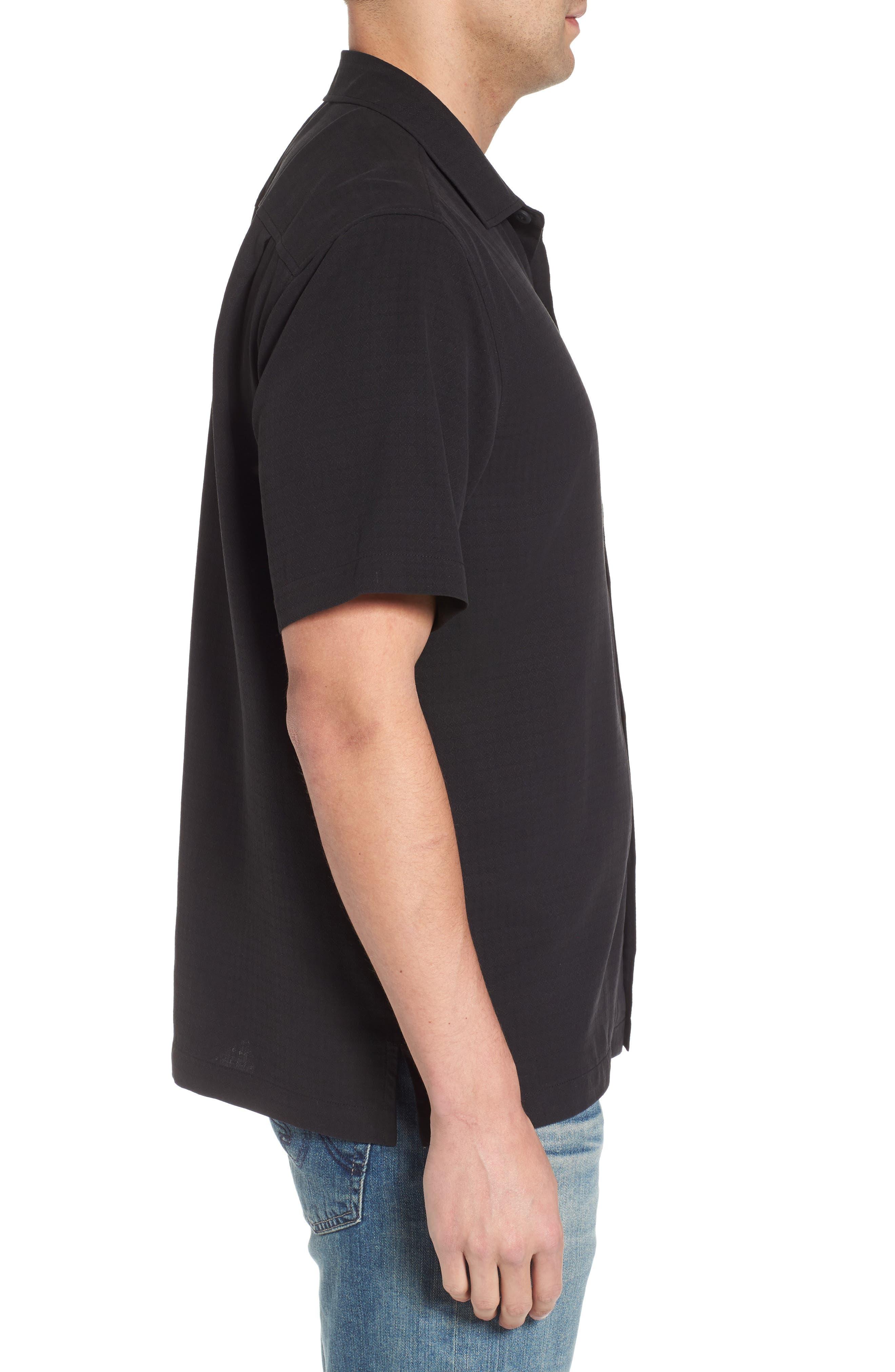 Oasis Jacquard Silk Sport Shirt,                             Alternate thumbnail 3, color,                             001