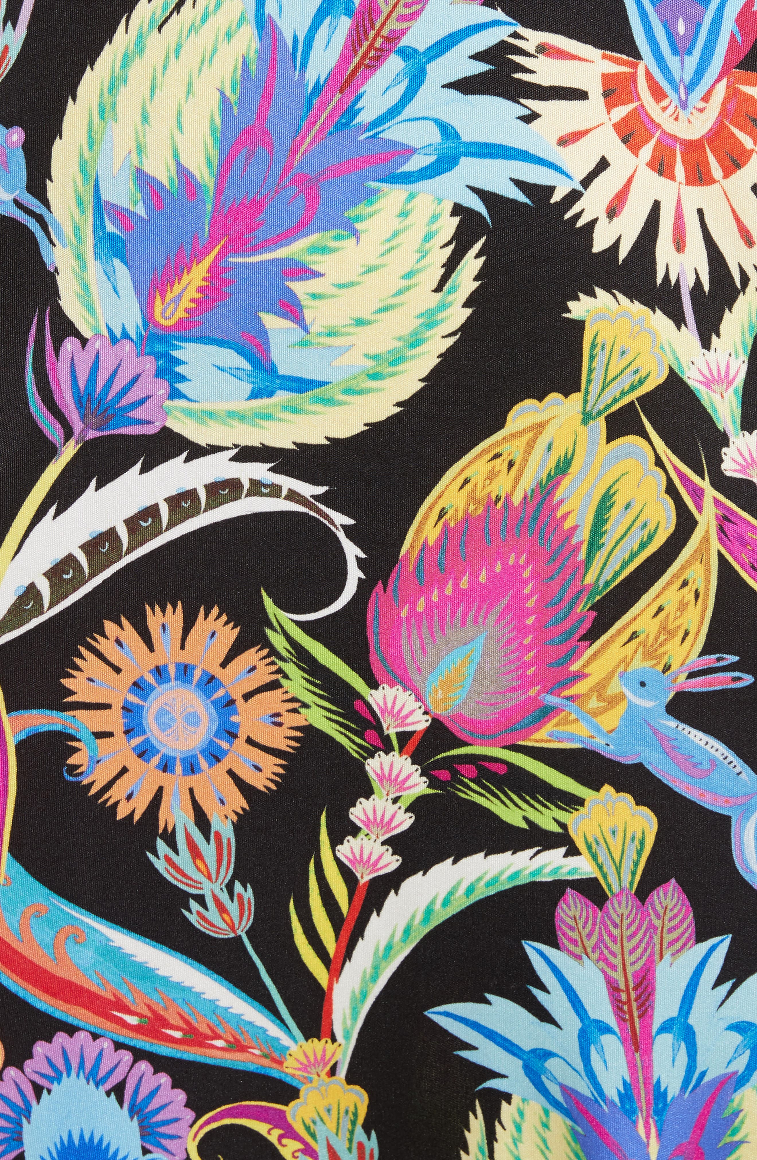 Floral Print Silk Shift Dress,                             Alternate thumbnail 5, color,                             001