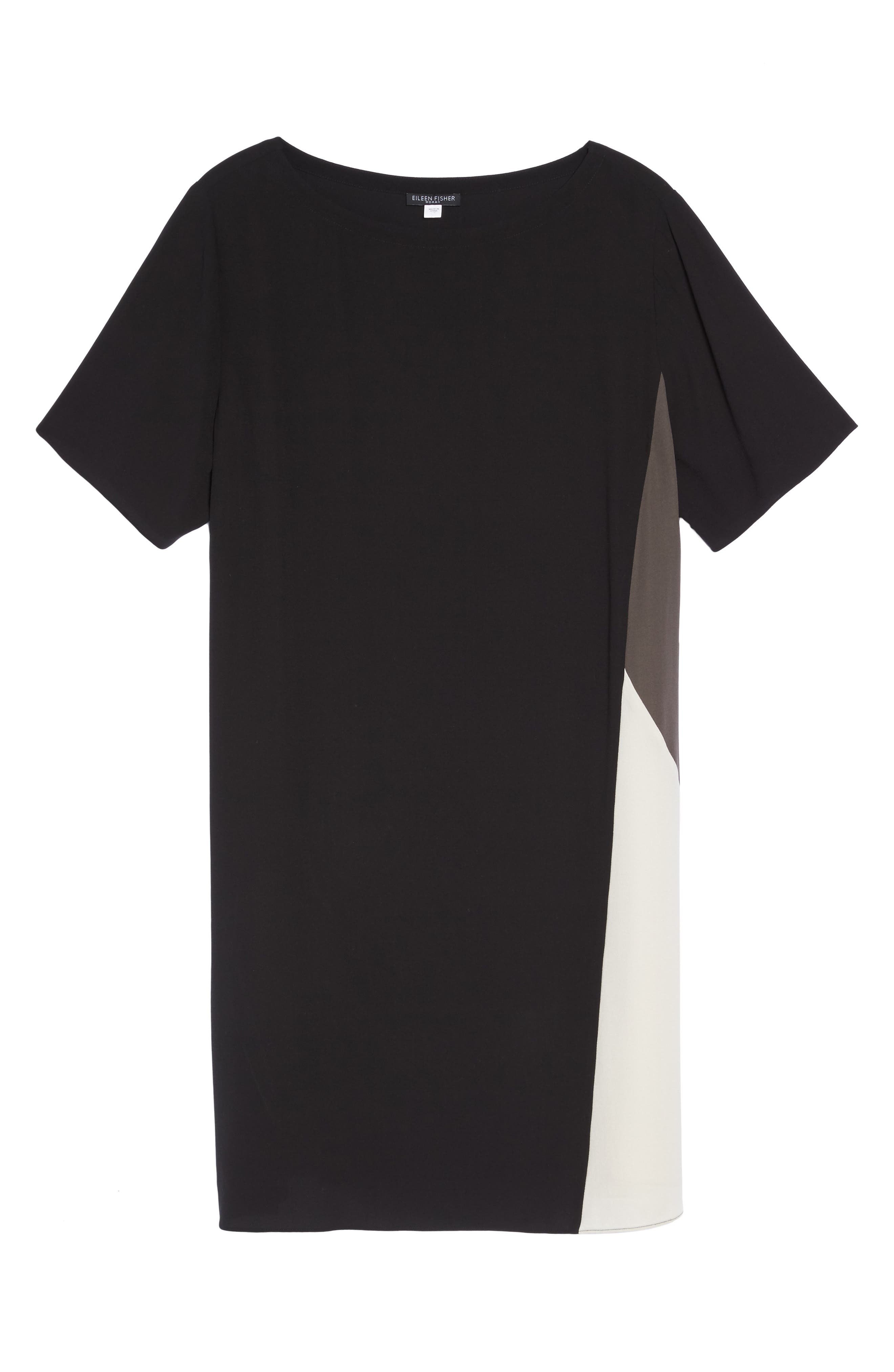 Colorblock Silk Shift Dress,                             Alternate thumbnail 6, color,                             001