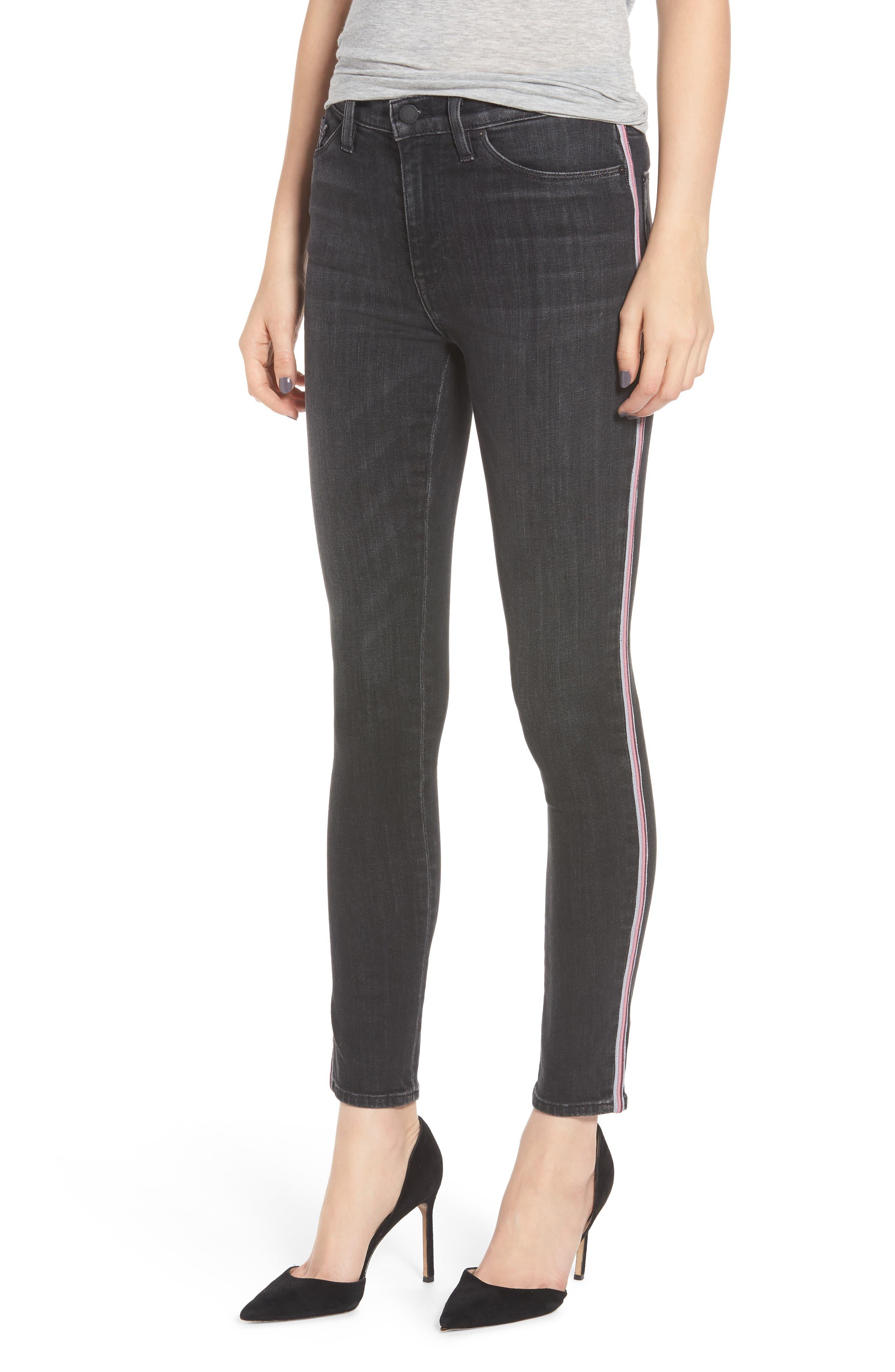 Barbara Track Stripe Jeans In Dark Raven