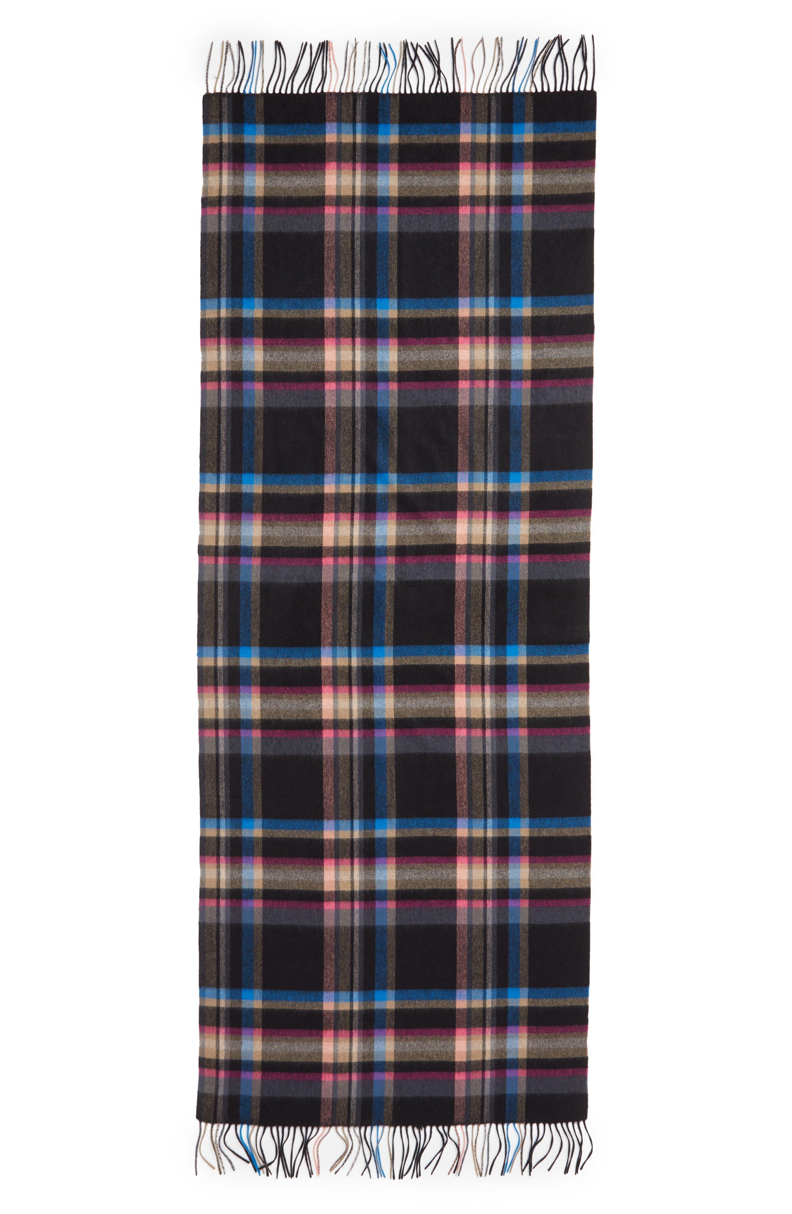 Plaid Cashmere Wrap Scarf,                             Alternate thumbnail 3, color,                             BLACK COMBO