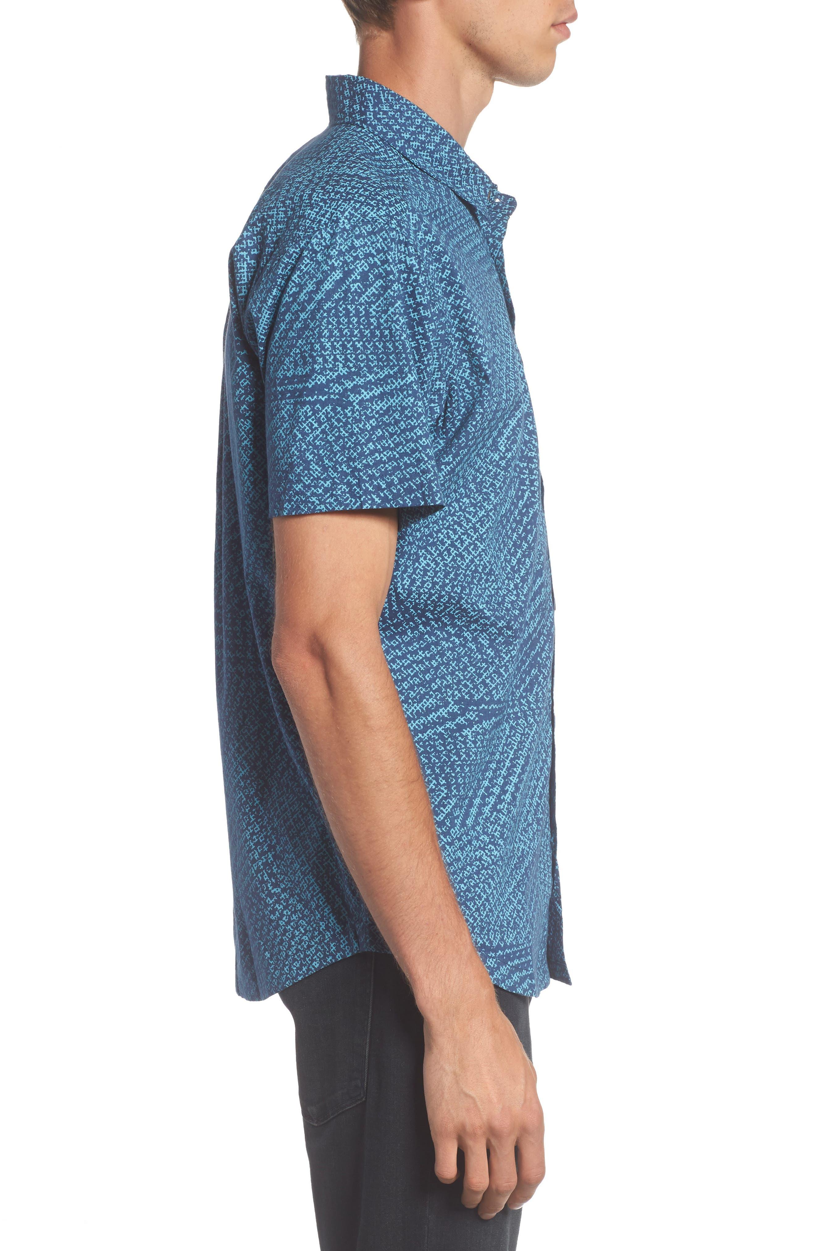Grid Woven Shirt,                             Alternate thumbnail 3, color,                             497