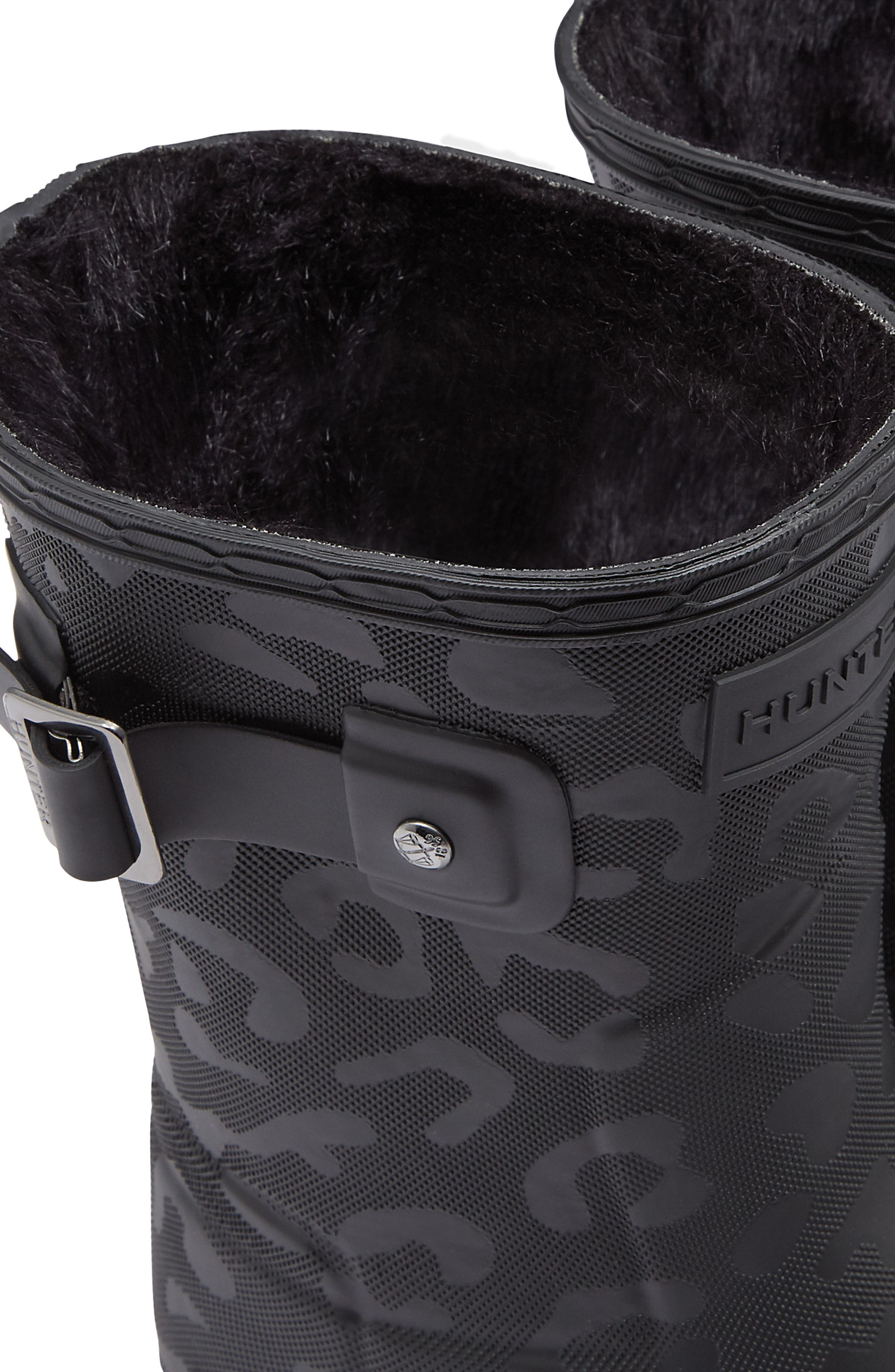 HUNTER,                             Original Insulated Refined Short Rain Boot,                             Alternate thumbnail 7, color,                             001