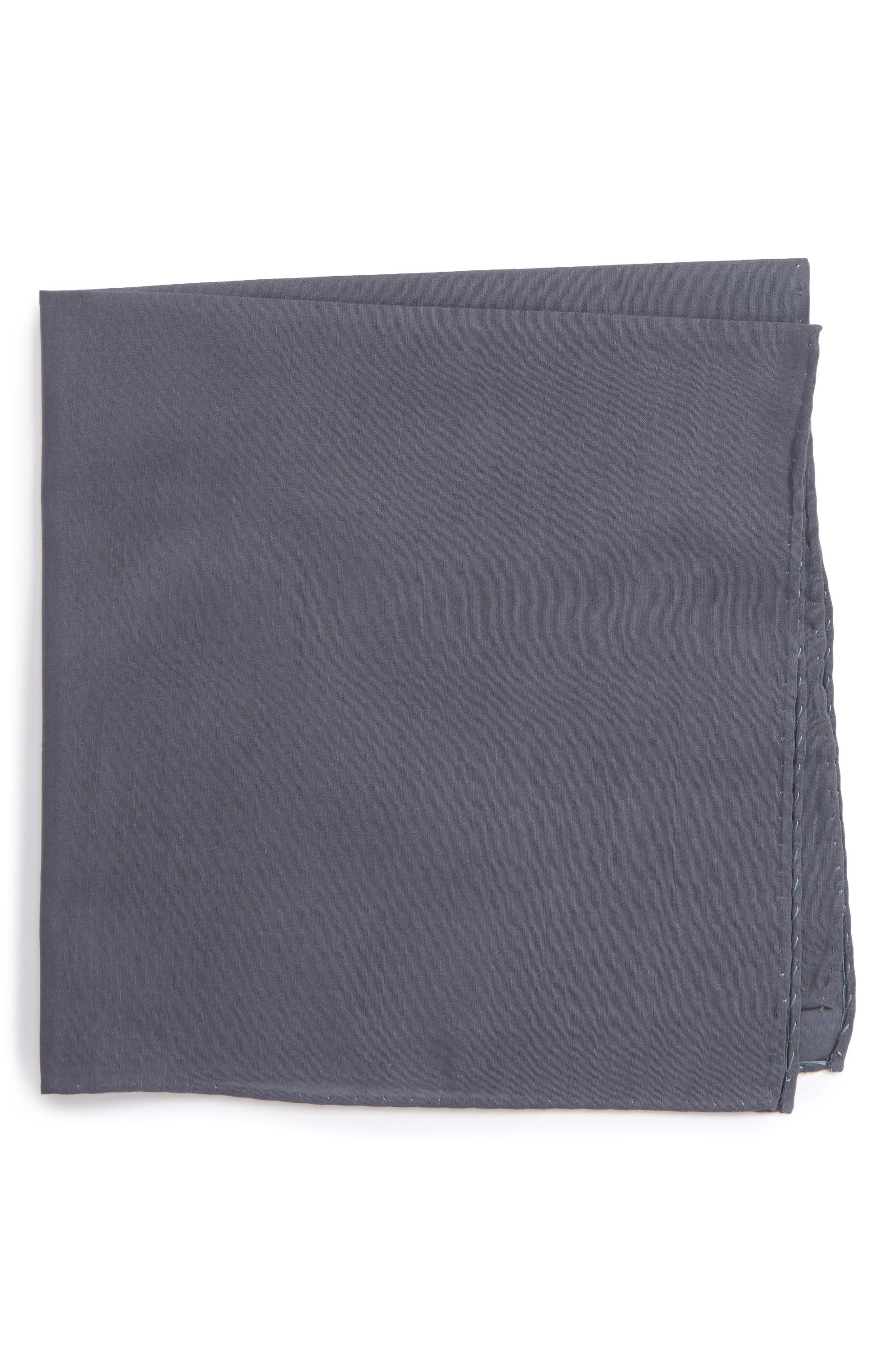Solid Cotton & Silk Pocket Square,                             Main thumbnail 2, color,