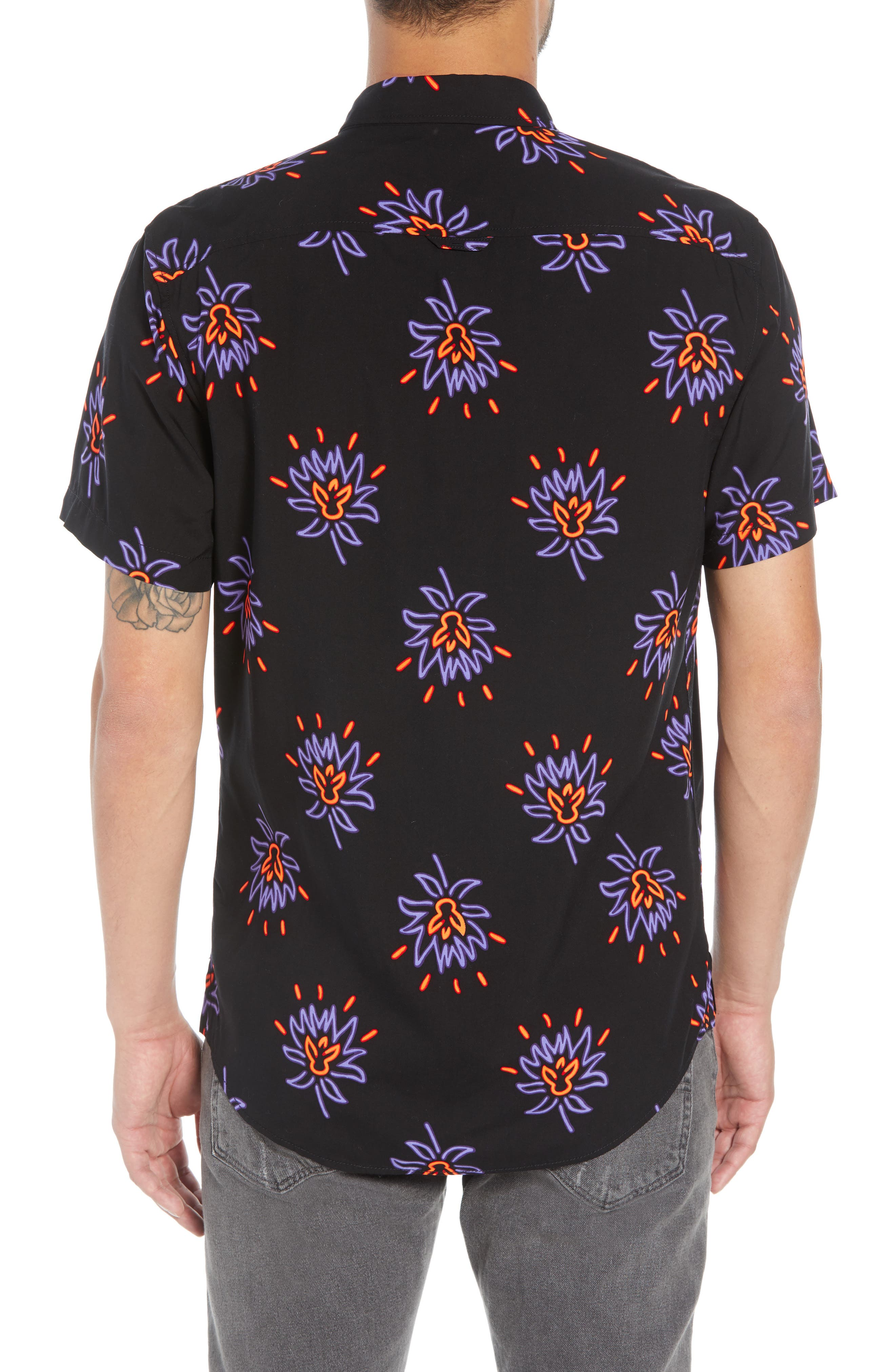 Neon Flower Print Woven Shirt,                             Alternate thumbnail 2, color,                             BLACK PURPLE NEON FLORAL