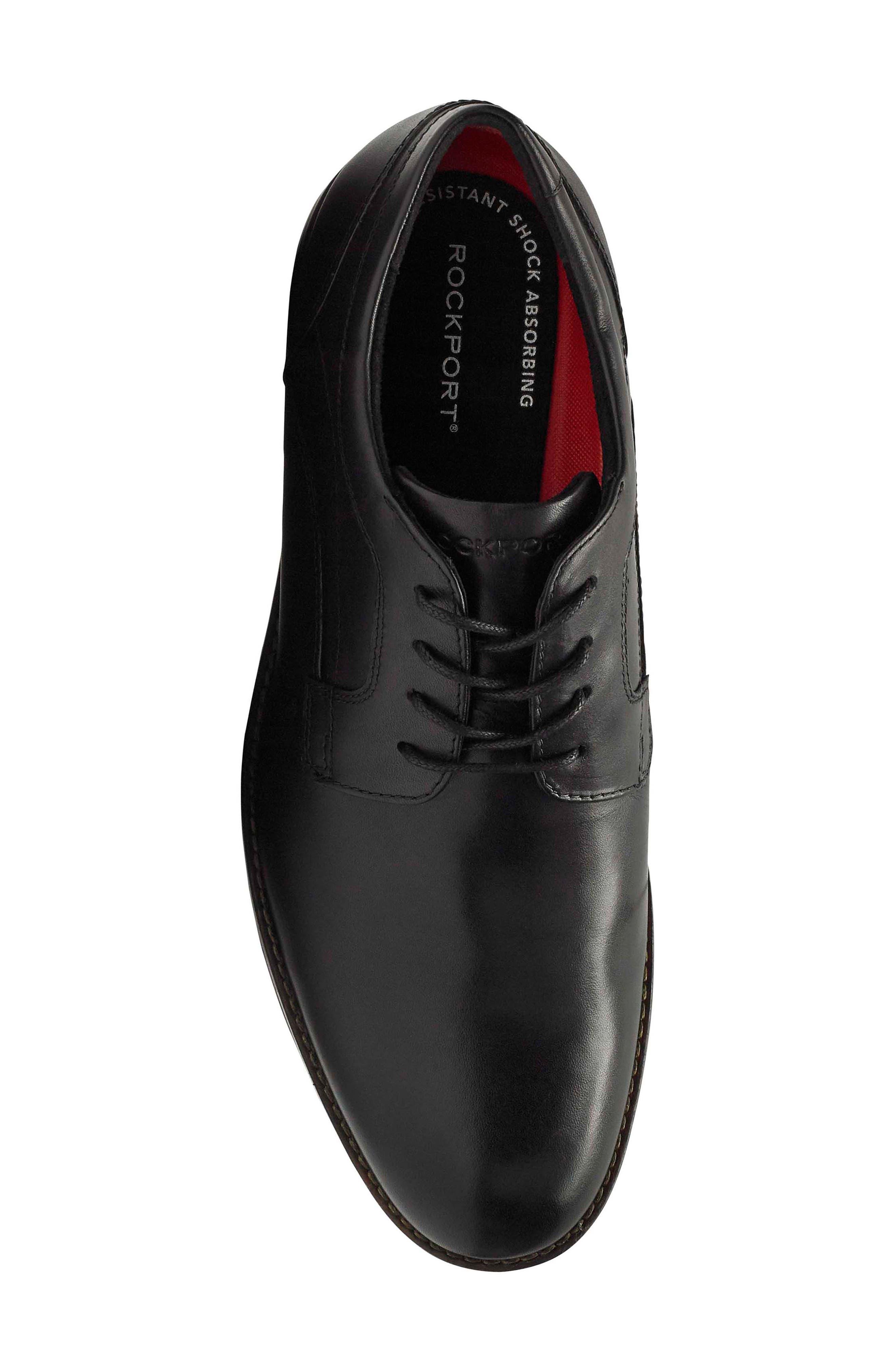 Dustyn Waterproof Plain Toe Derby,                             Alternate thumbnail 5, color,                             BLACK LEATHER