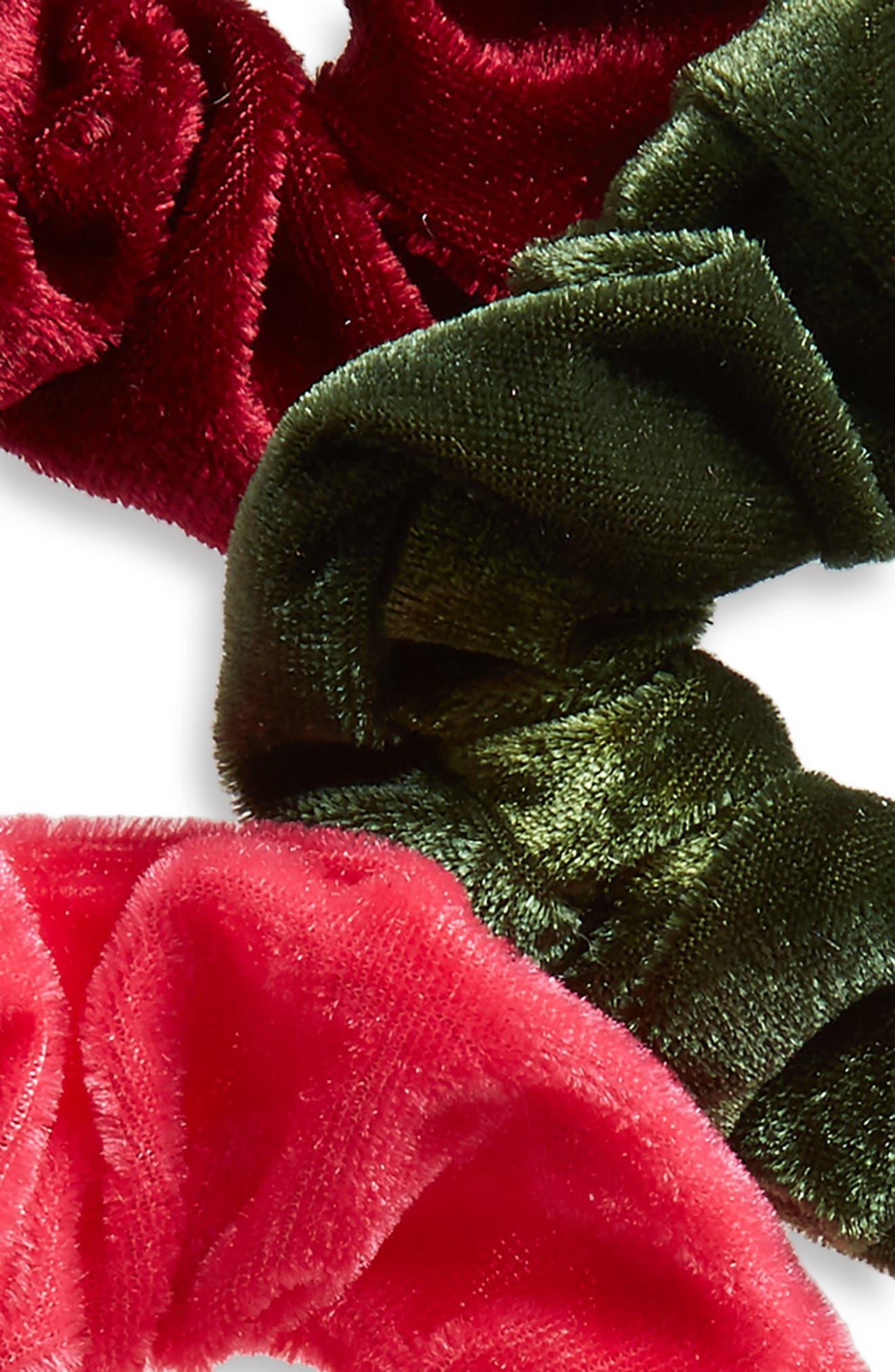 5-Pack Velvet Scrunchies,                             Alternate thumbnail 3, color,                             400