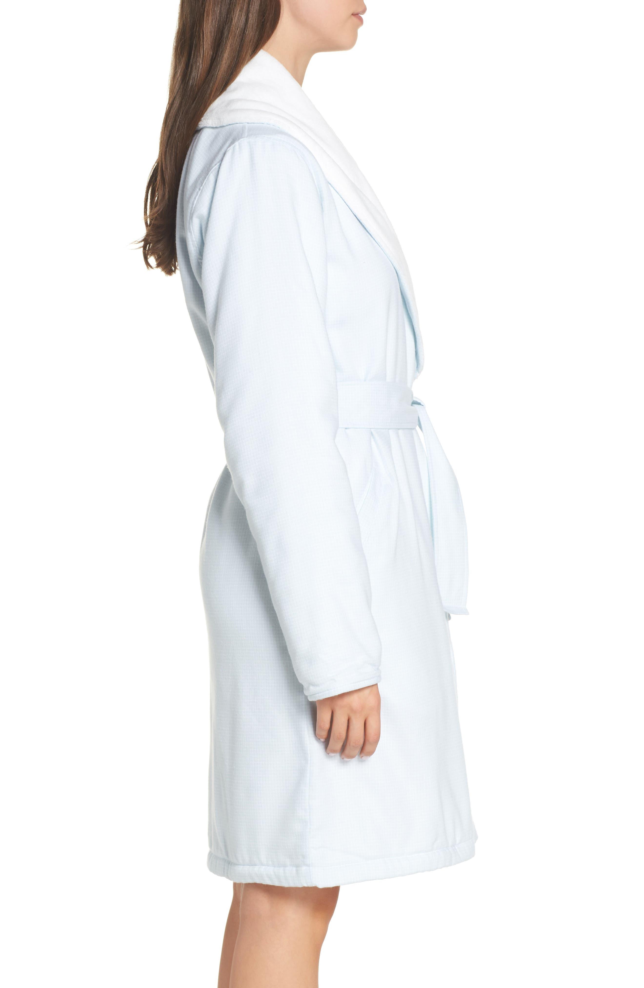 Anika Fleece Lined Flannel Robe,                             Alternate thumbnail 3, color,                             SKY BLUE / WHITE CHECK