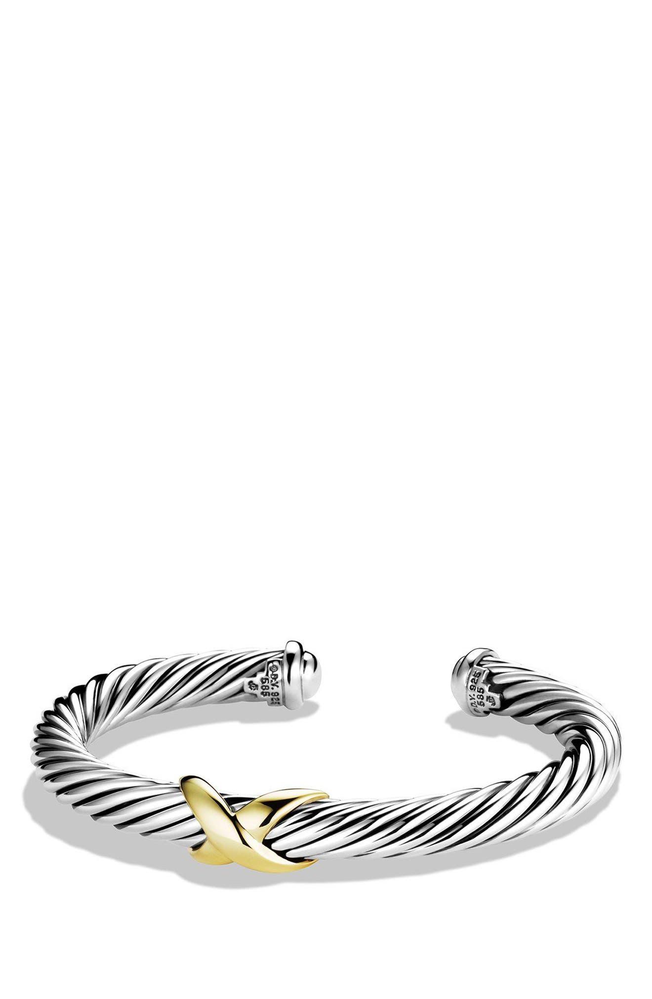 X Bracelet with 14K Gold,                             Main thumbnail 1, color,                             SILVER/ 14K GOLD