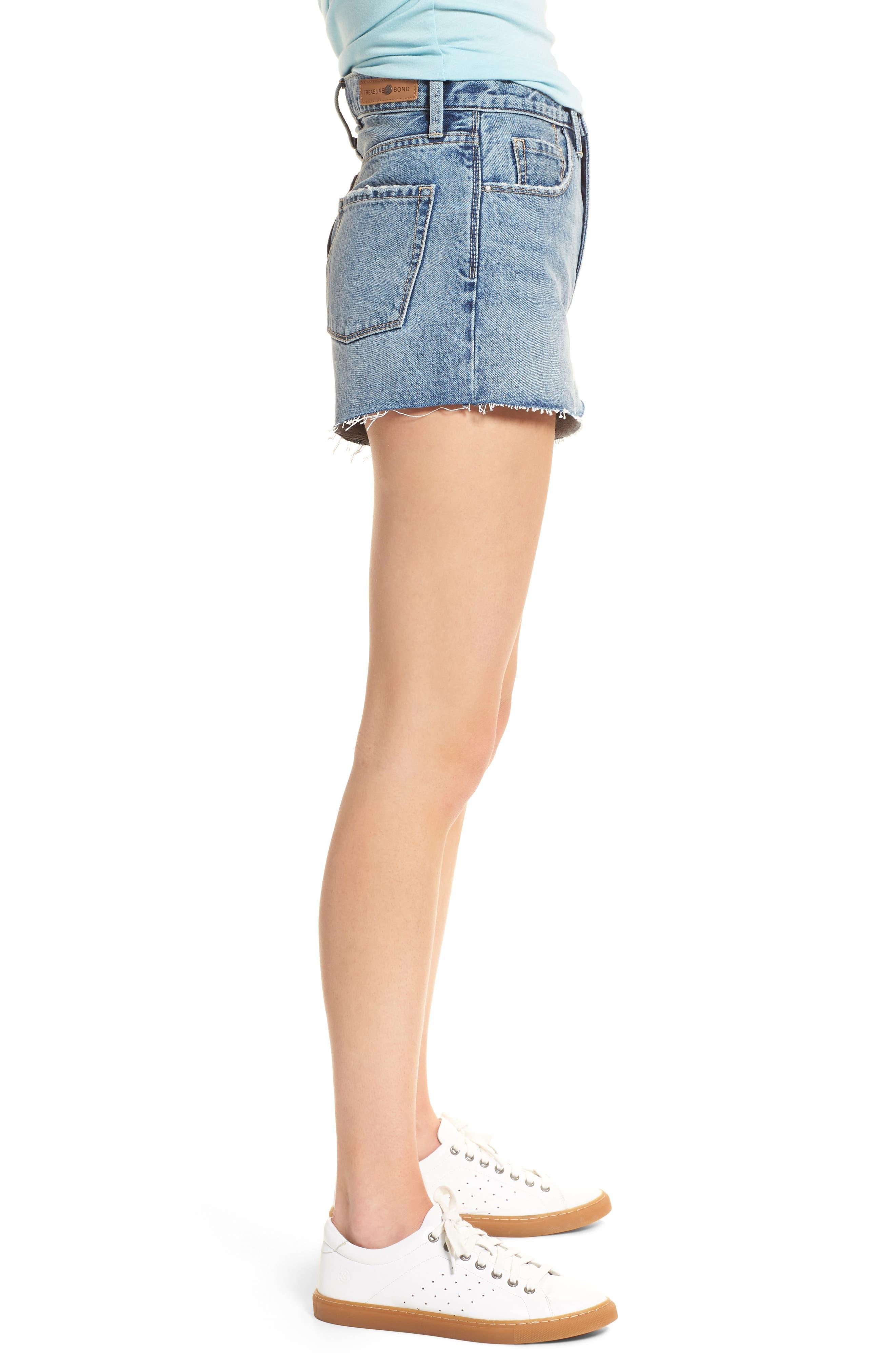 High Waist Cutoff Denim Shorts,                             Alternate thumbnail 3, color,                             420