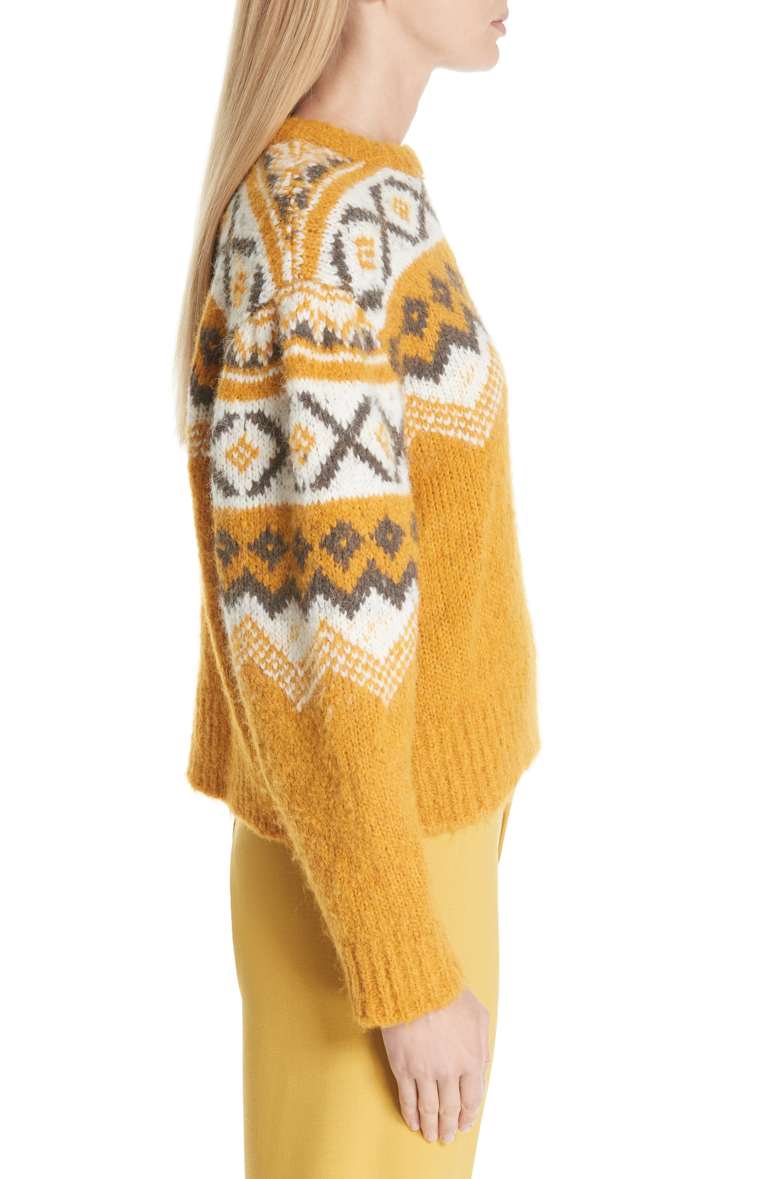 Fair Isle Shirred Sleeve Sweater,                             Alternate thumbnail 3, color,                             YELLOW