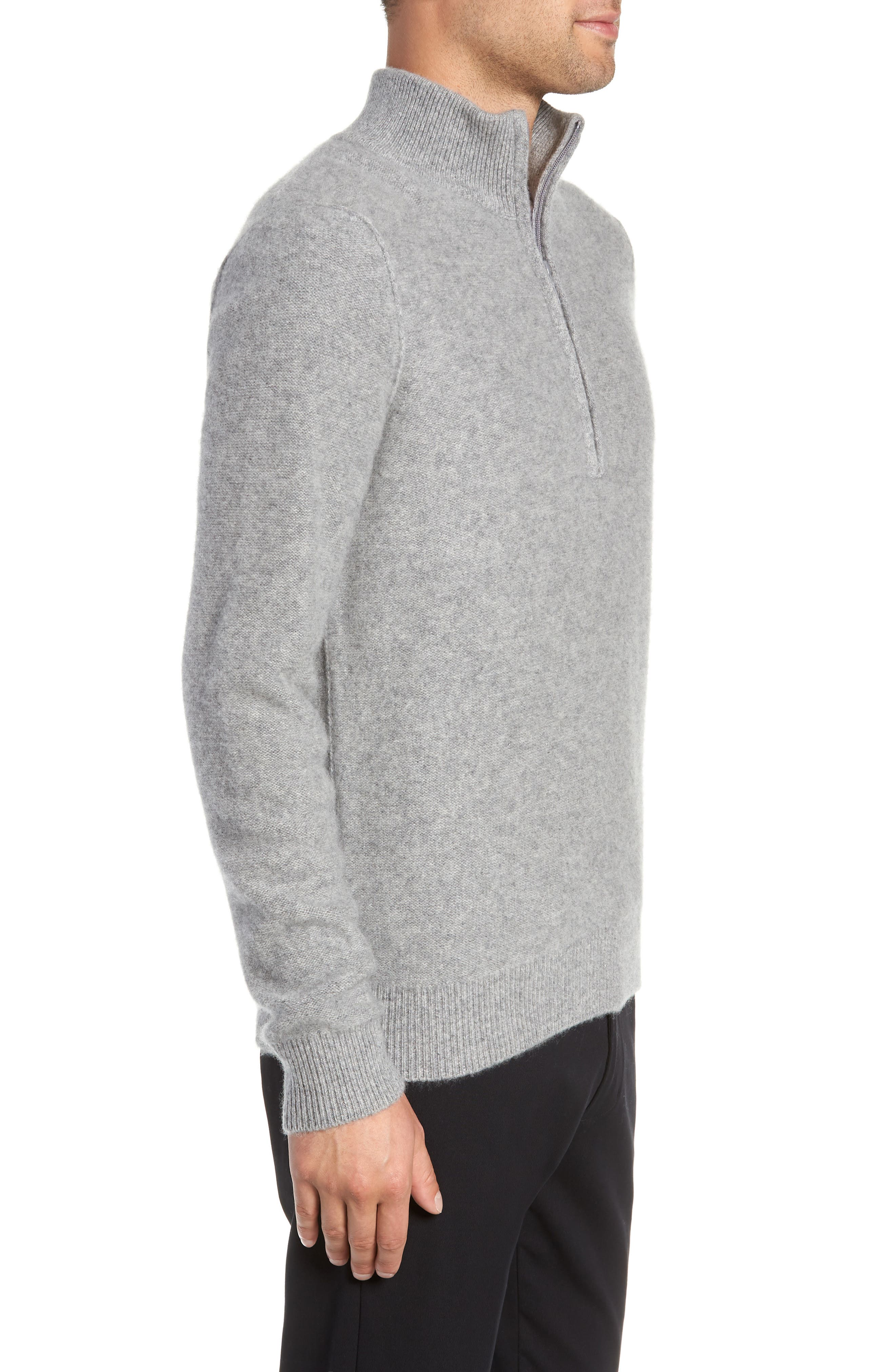 Cashmere Quarter Zip Sweater,                             Alternate thumbnail 3, color,                             H GREY