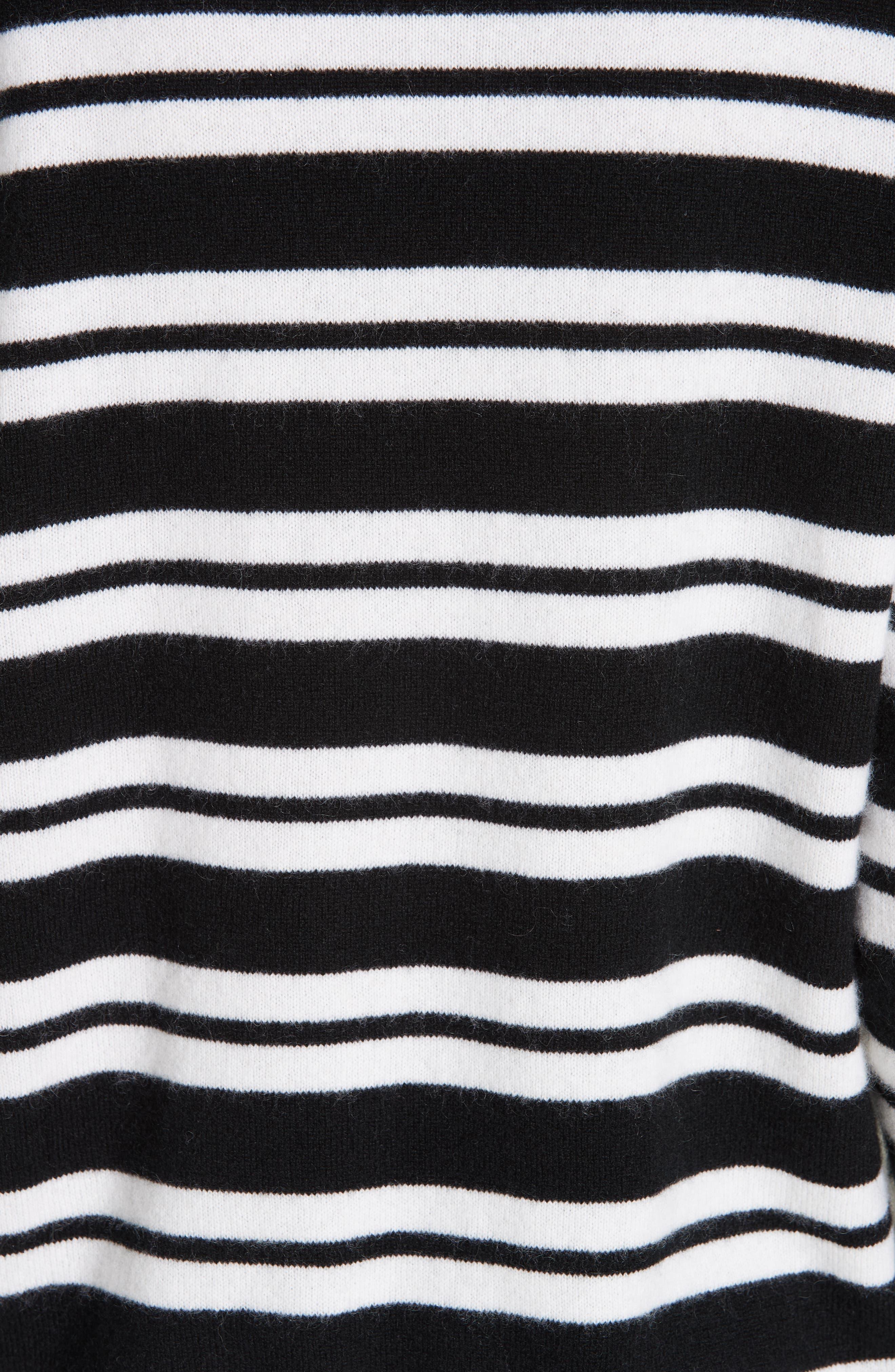 Le Ligne Tripe Stripe Cashmere Sweater,                             Alternate thumbnail 5, color,                             BLACK/ CREAM