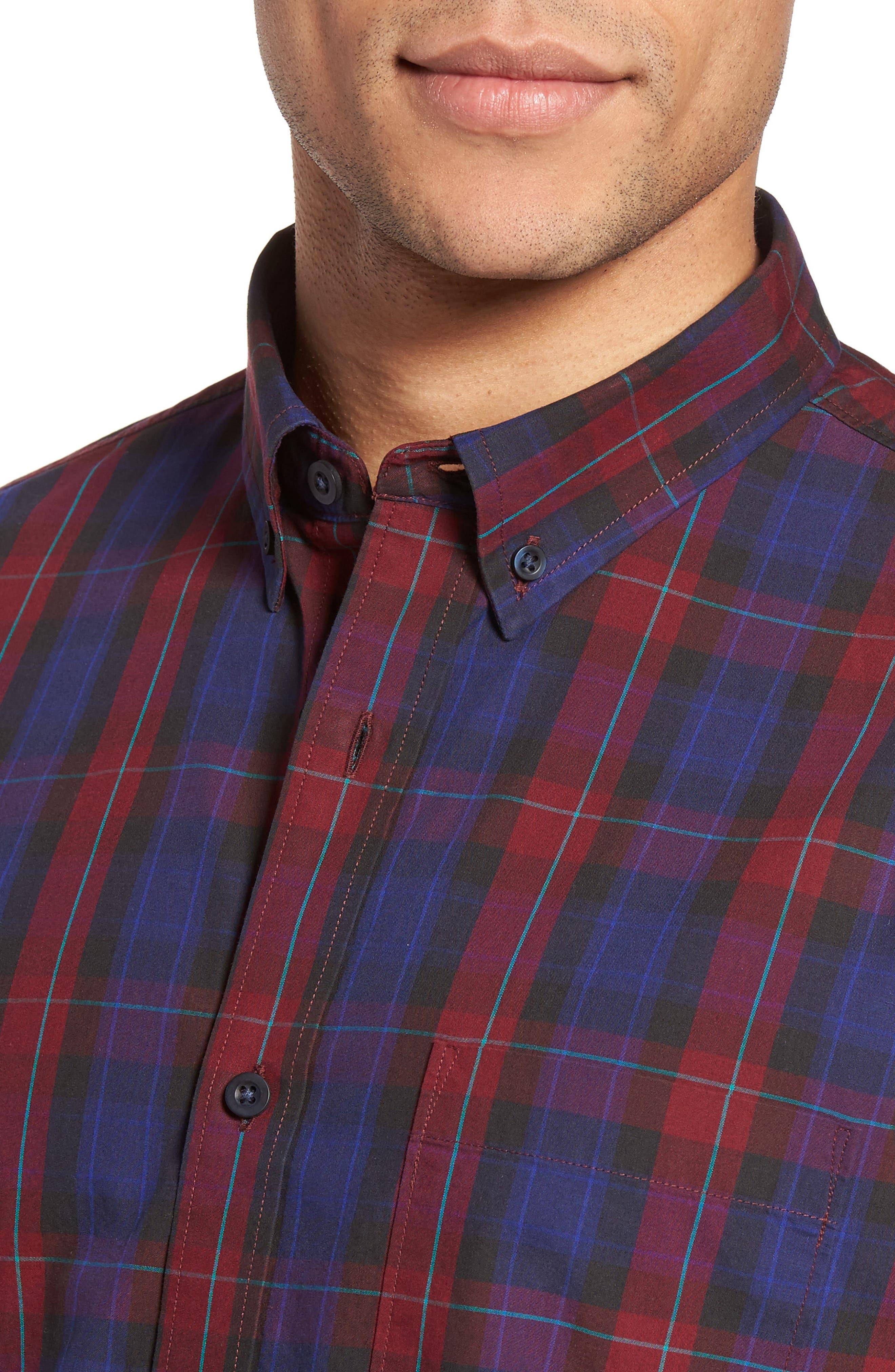Slim Fit Plaid Sport Shirt,                             Alternate thumbnail 4, color,                             601