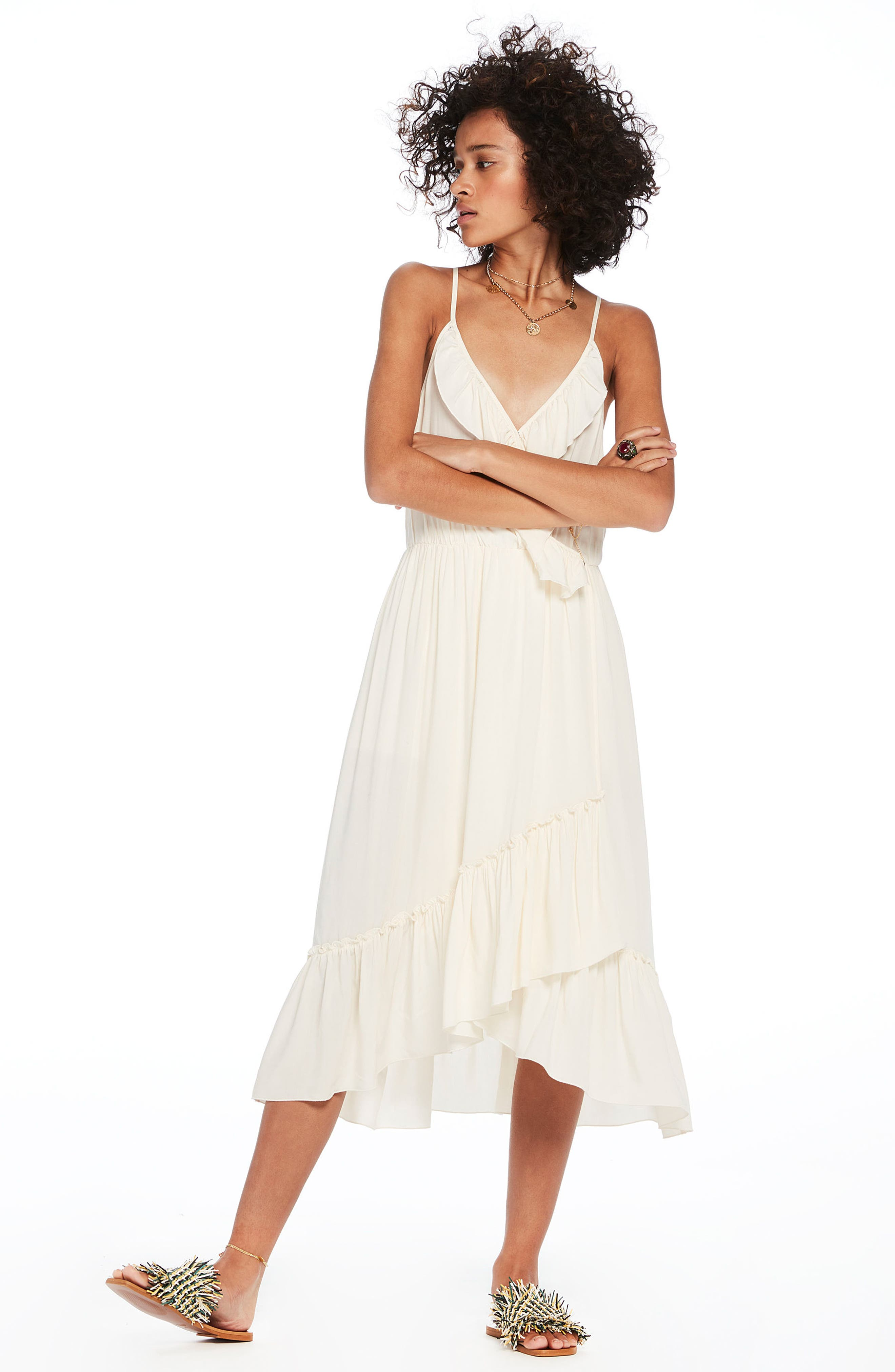 Wrap Style Midi Dress,                             Alternate thumbnail 9, color,                             COLOR 01 OFF WHITE