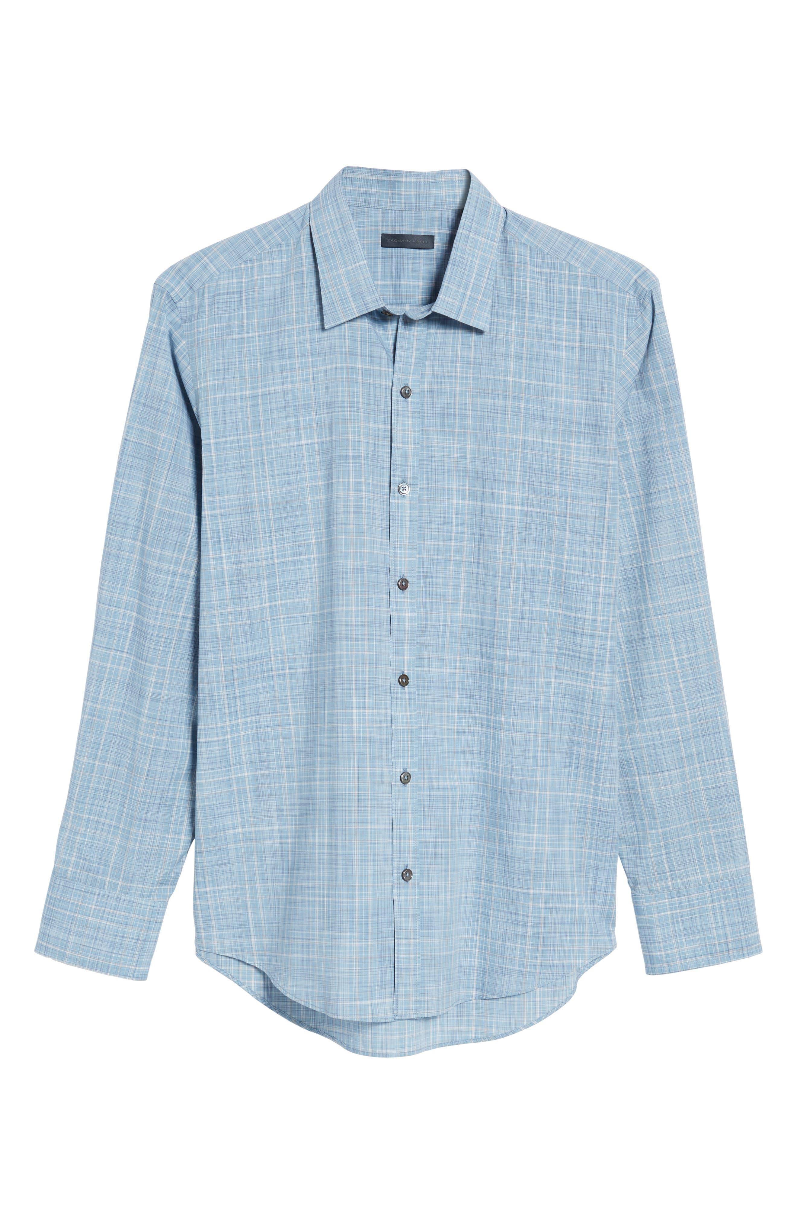 Clark Slim Fit Plaid Sport Shirt,                             Alternate thumbnail 6, color,
