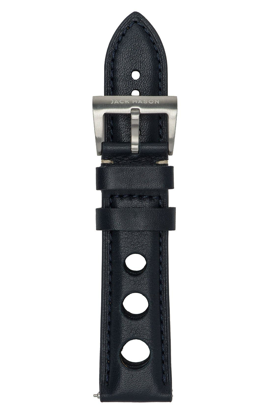 Perforated Leather Strap, 22mm,                         Main,                         color, 001