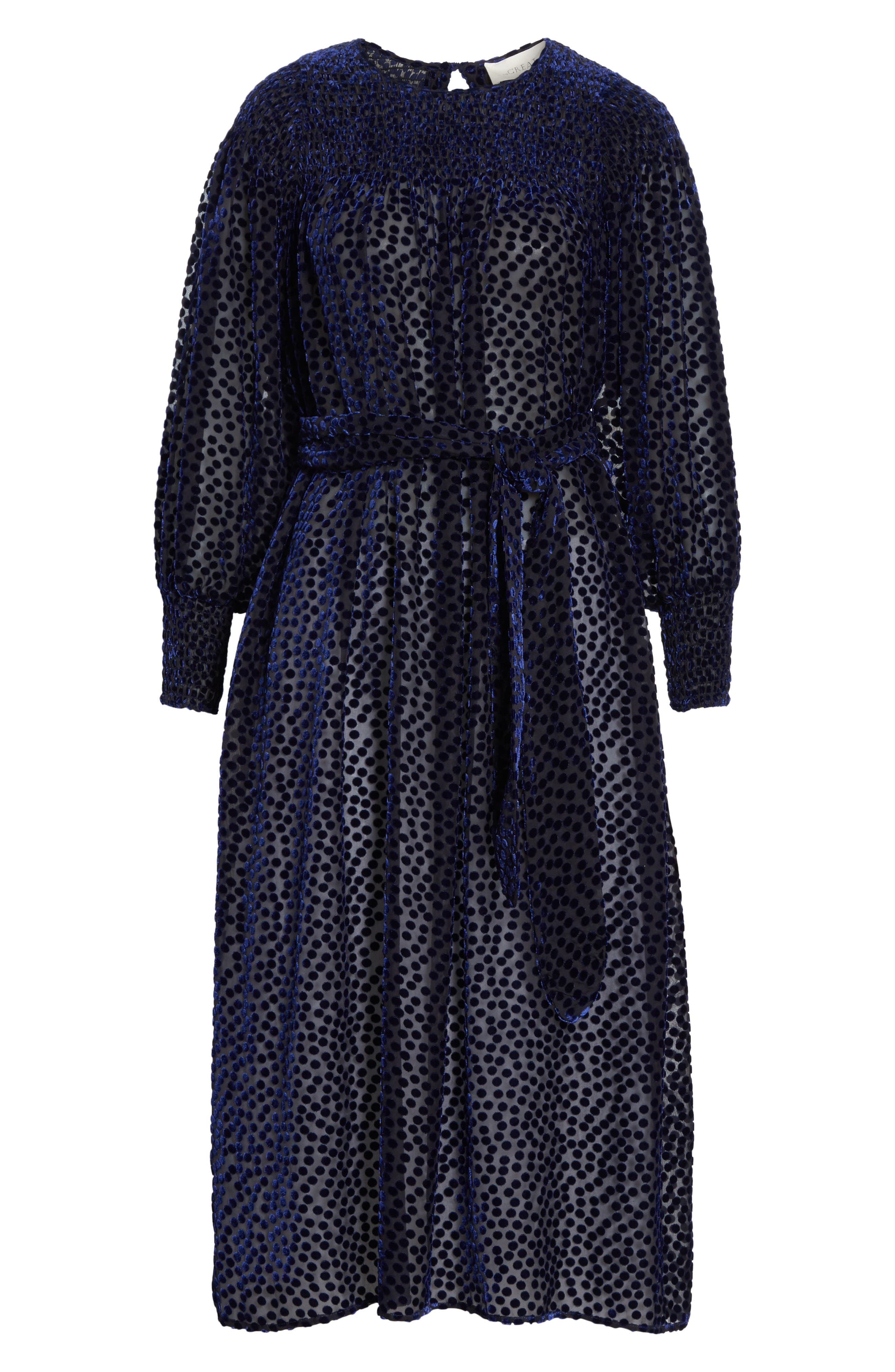 The Merry Velvet Burnout Dress,                             Alternate thumbnail 6, color,                             NAVY