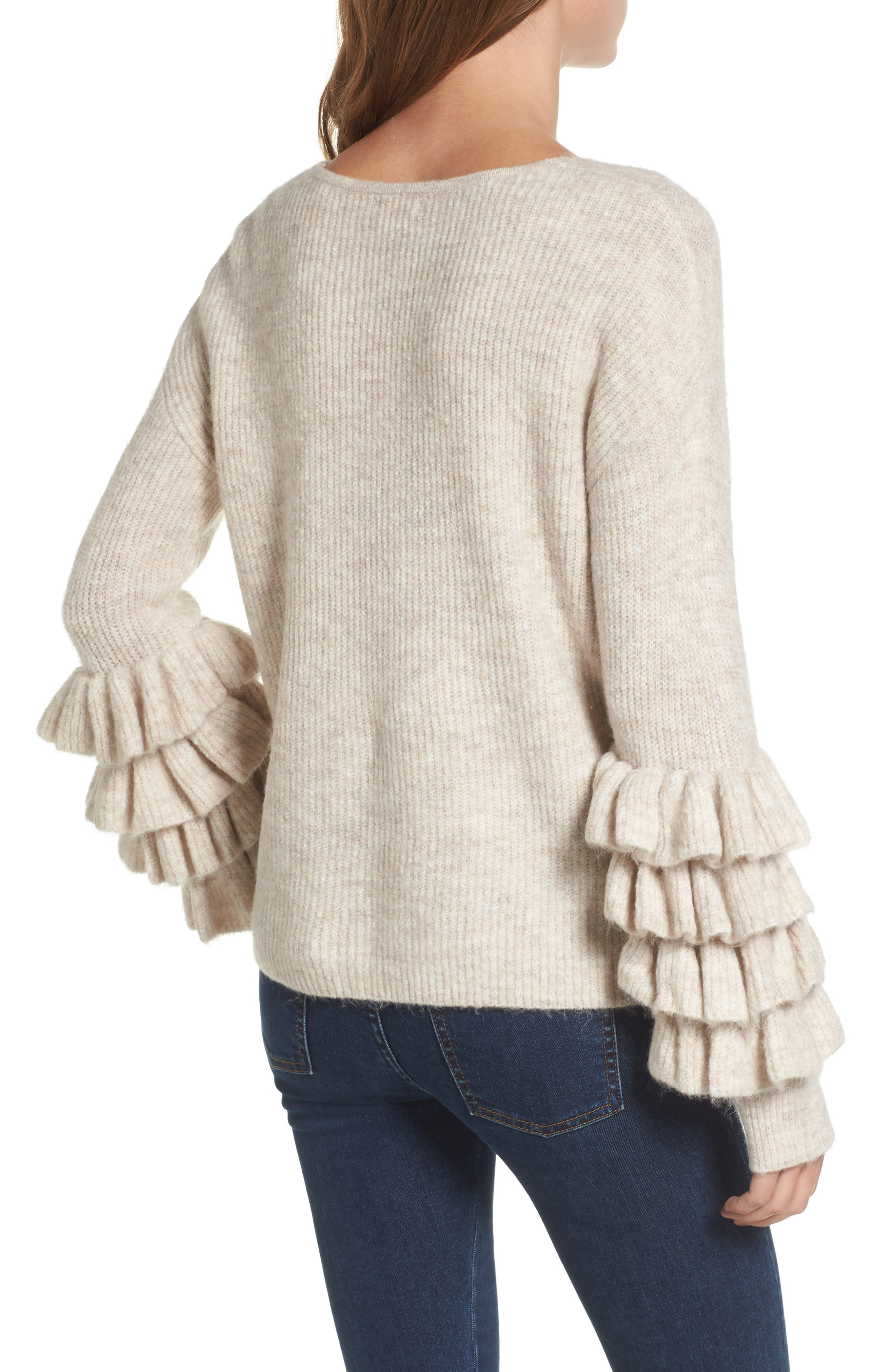 Ruffle Sleeve V-Neck Sweater,                             Alternate thumbnail 3, color,