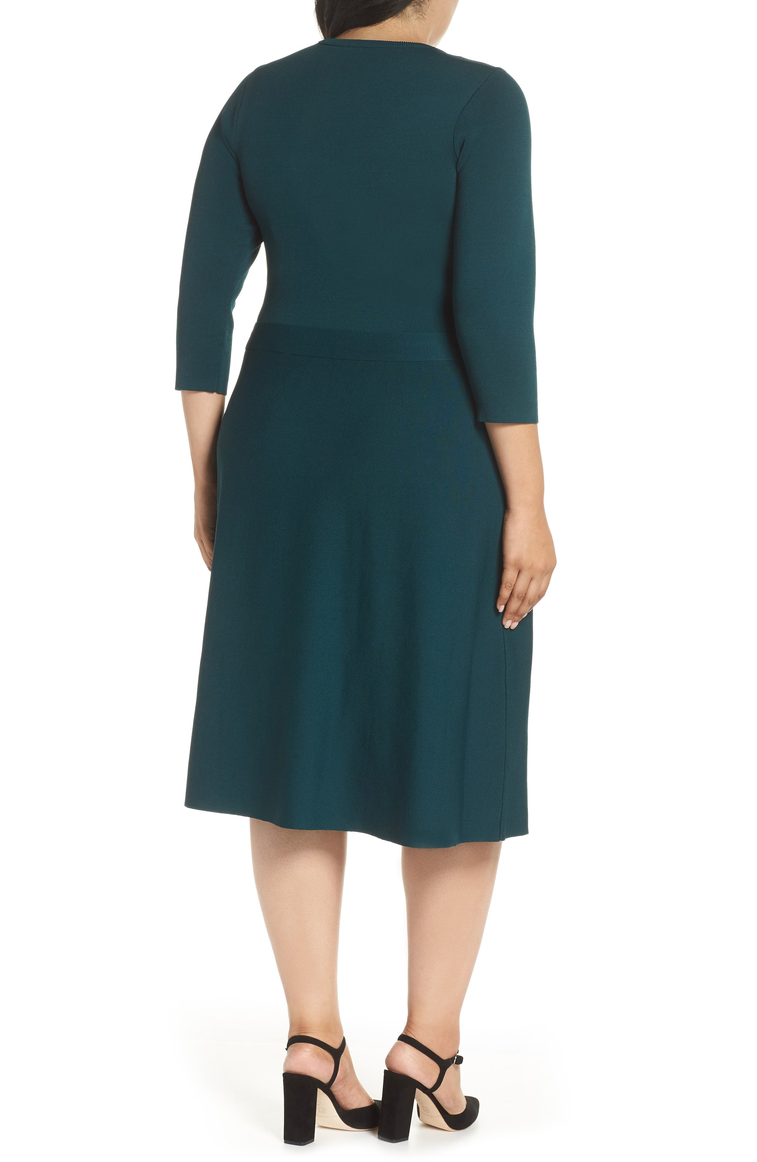 Fit & Flare Sweater Dress,                             Alternate thumbnail 2, color,                             SPRUCE