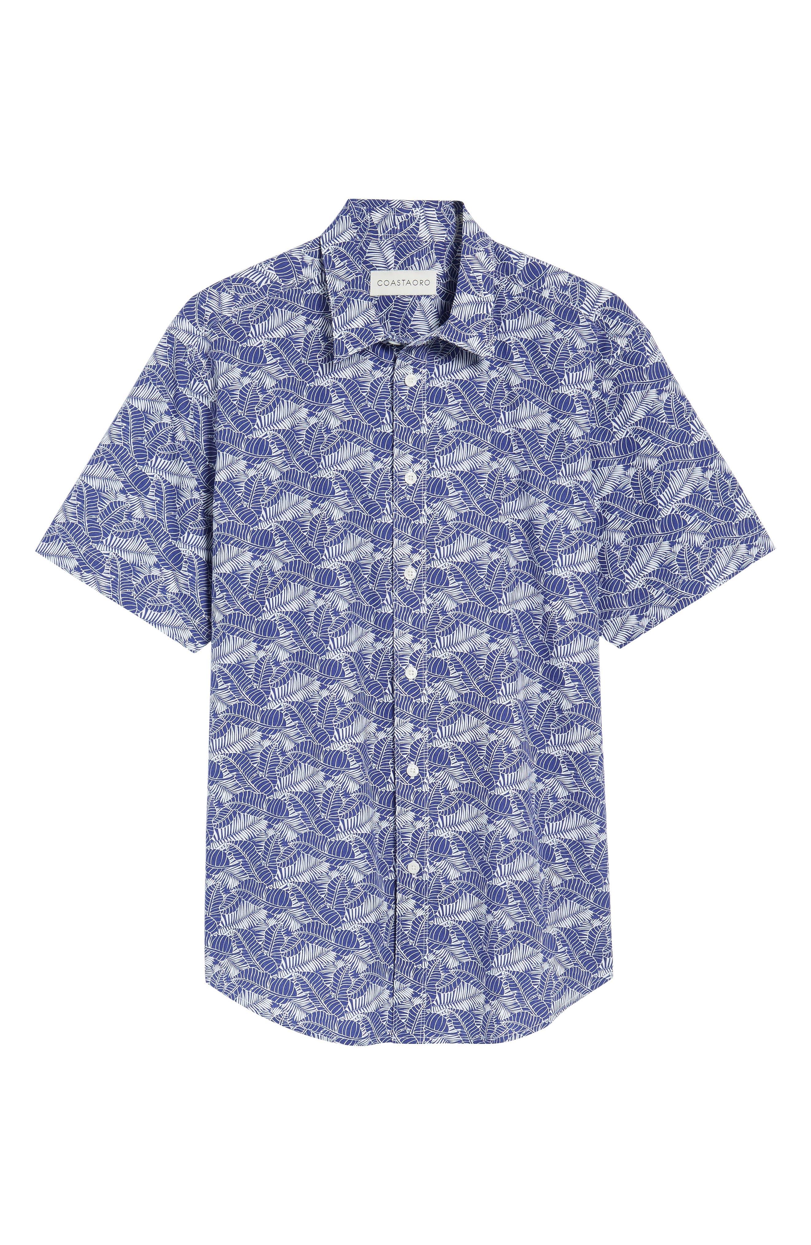 Lajoyas Regular Fit Palm Print Sport Shirt,                             Alternate thumbnail 6, color,                             422