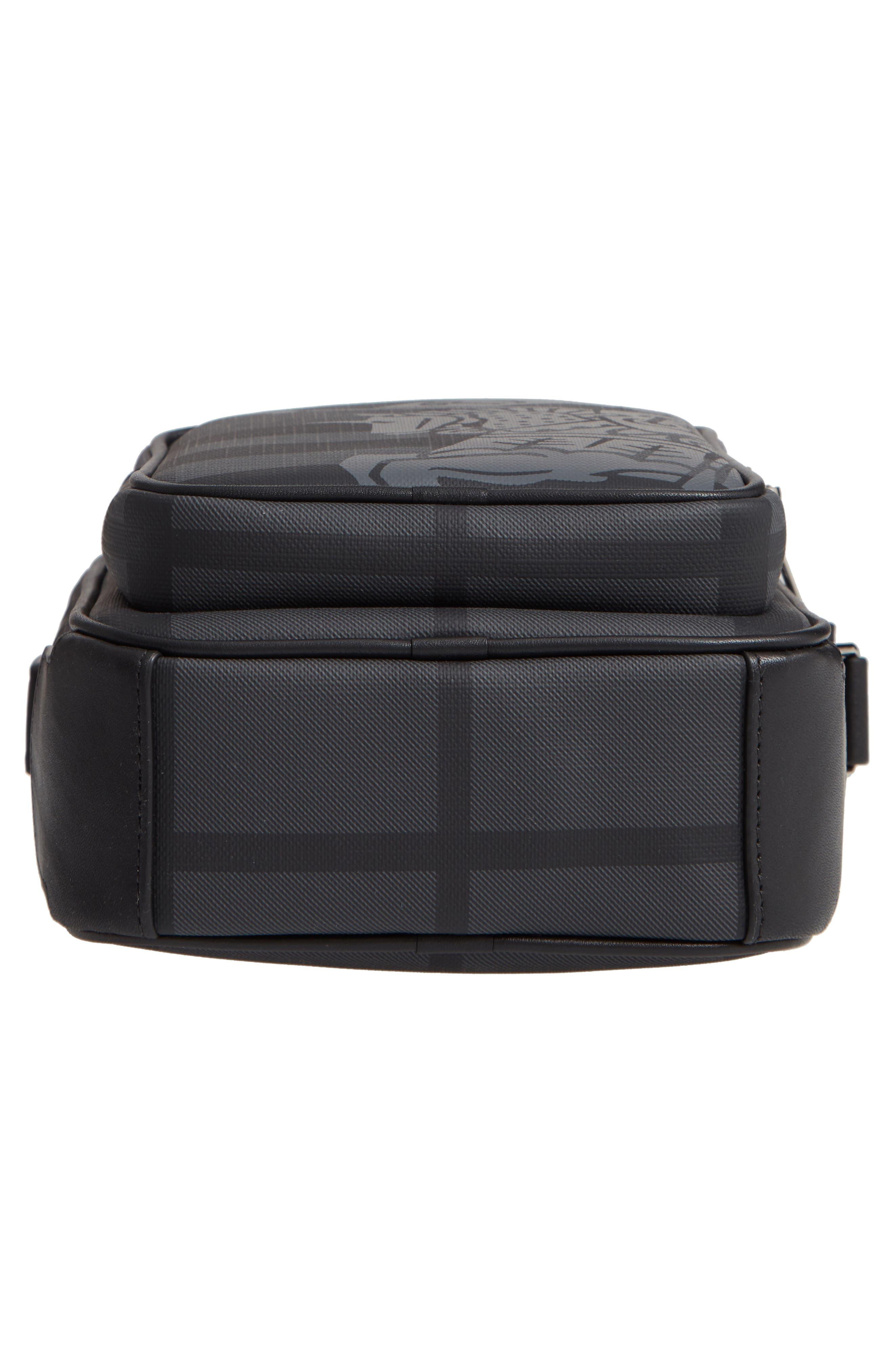 Freddie London Check Compact Messenger Bag,                             Alternate thumbnail 6, color,                             CHARCOAL BLACK