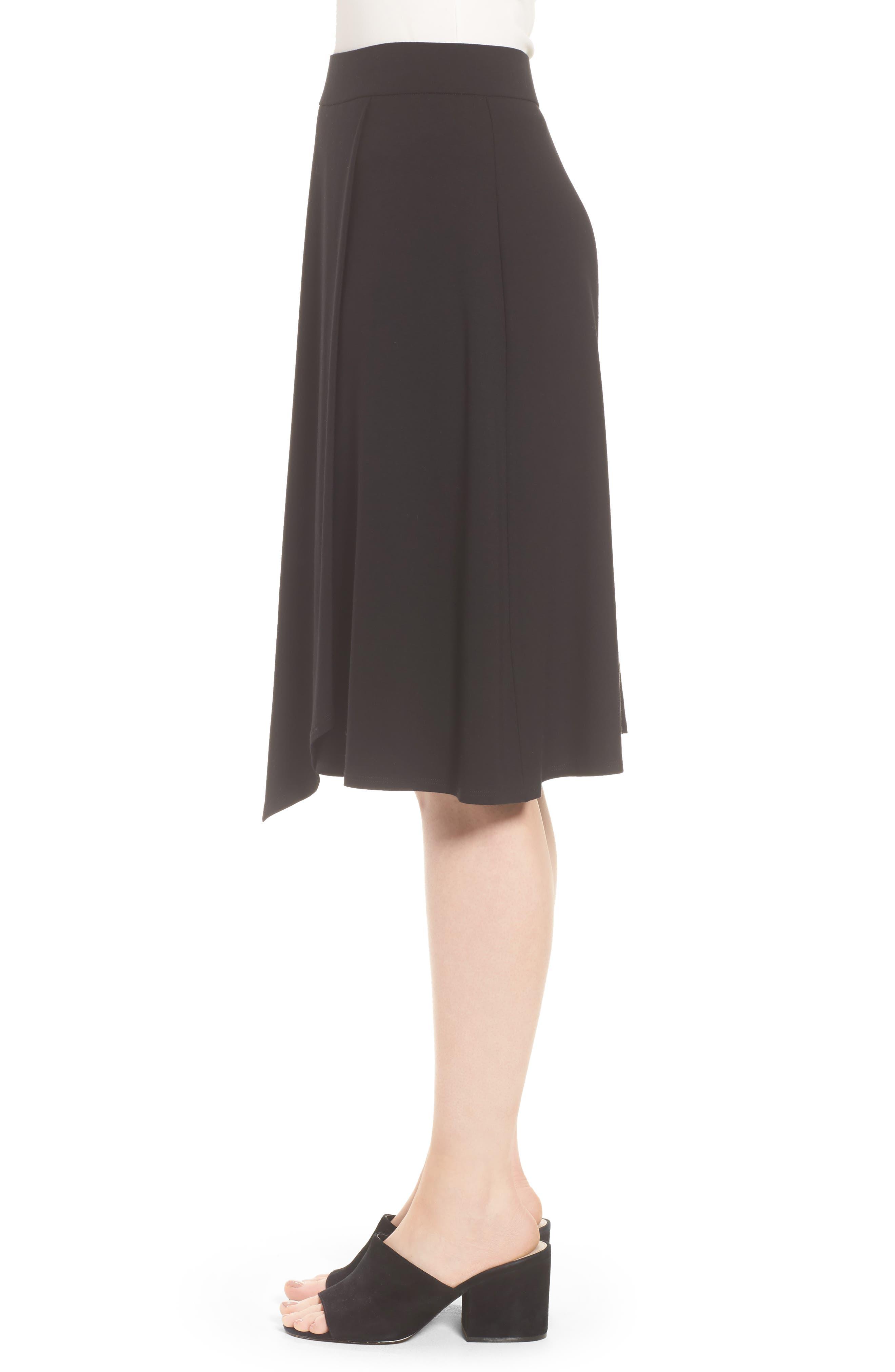 Faux Wrap Jersey Skirt,                             Alternate thumbnail 3, color,                             001